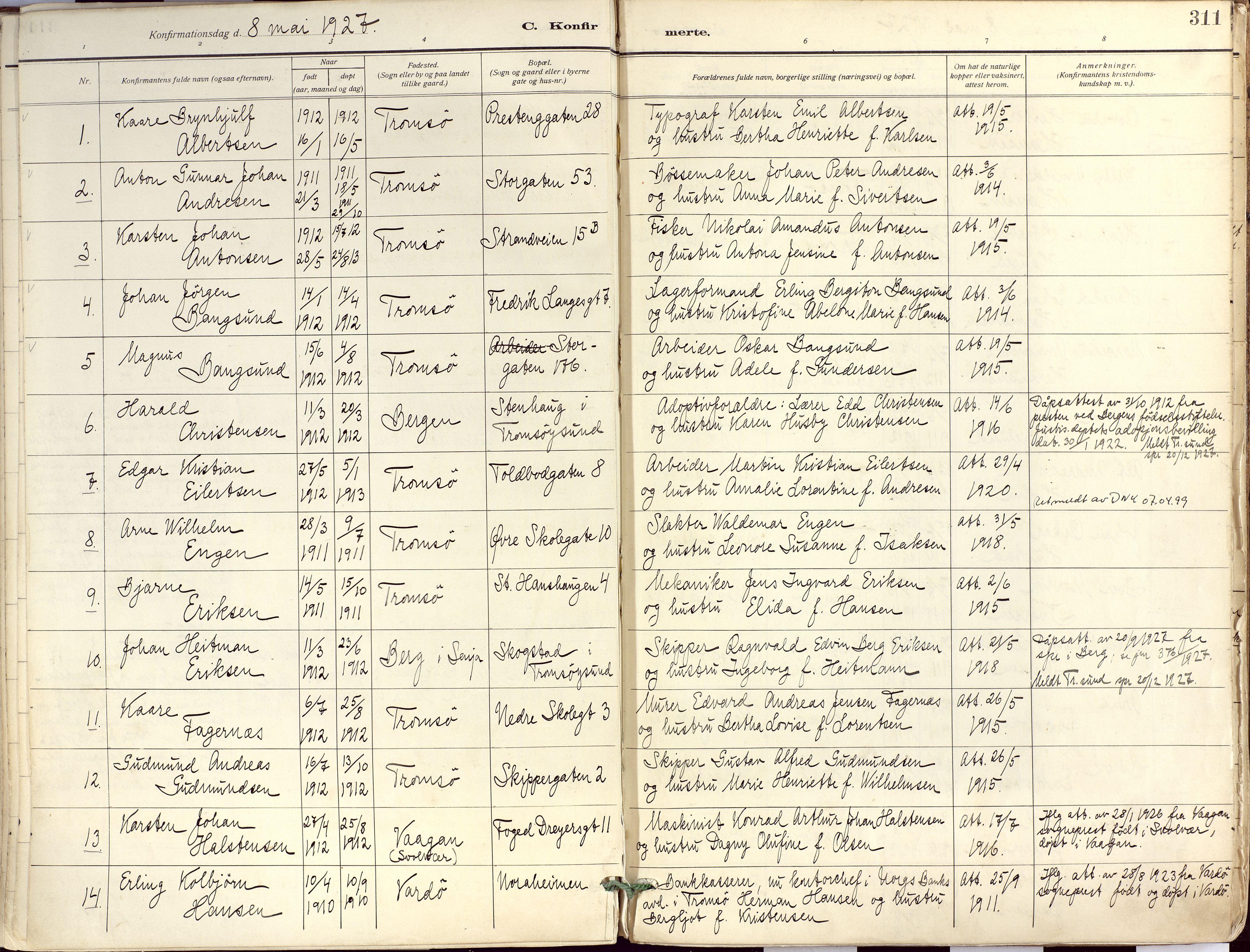 SATØ, Tromsø sokneprestkontor/stiftsprosti/domprosti, G/Ga/L0019kirke: Ministerialbok nr. 19, 1917-1927, s. 311