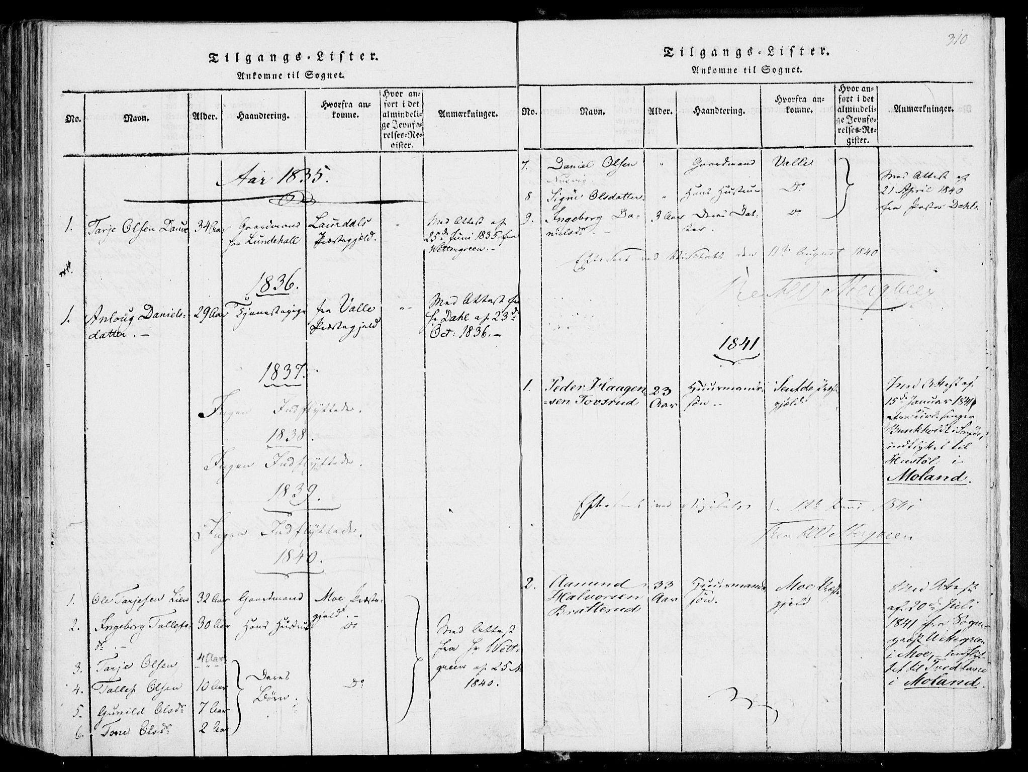 SAKO, Fyresdal kirkebøker, F/Fa/L0004: Ministerialbok nr. I 4, 1815-1854, s. 310