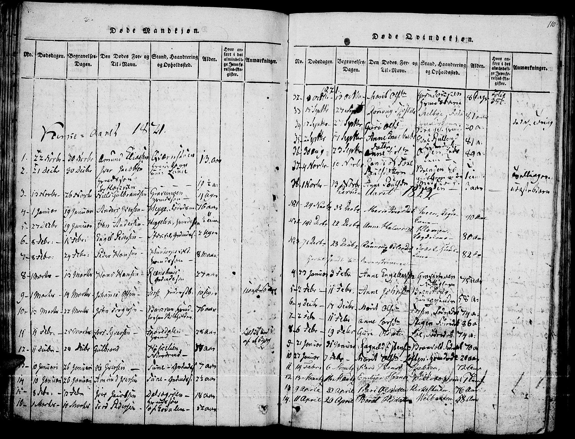SAH, Fron prestekontor, H/Ha/Haa/L0002: Ministerialbok nr. 2, 1816-1827, s. 110