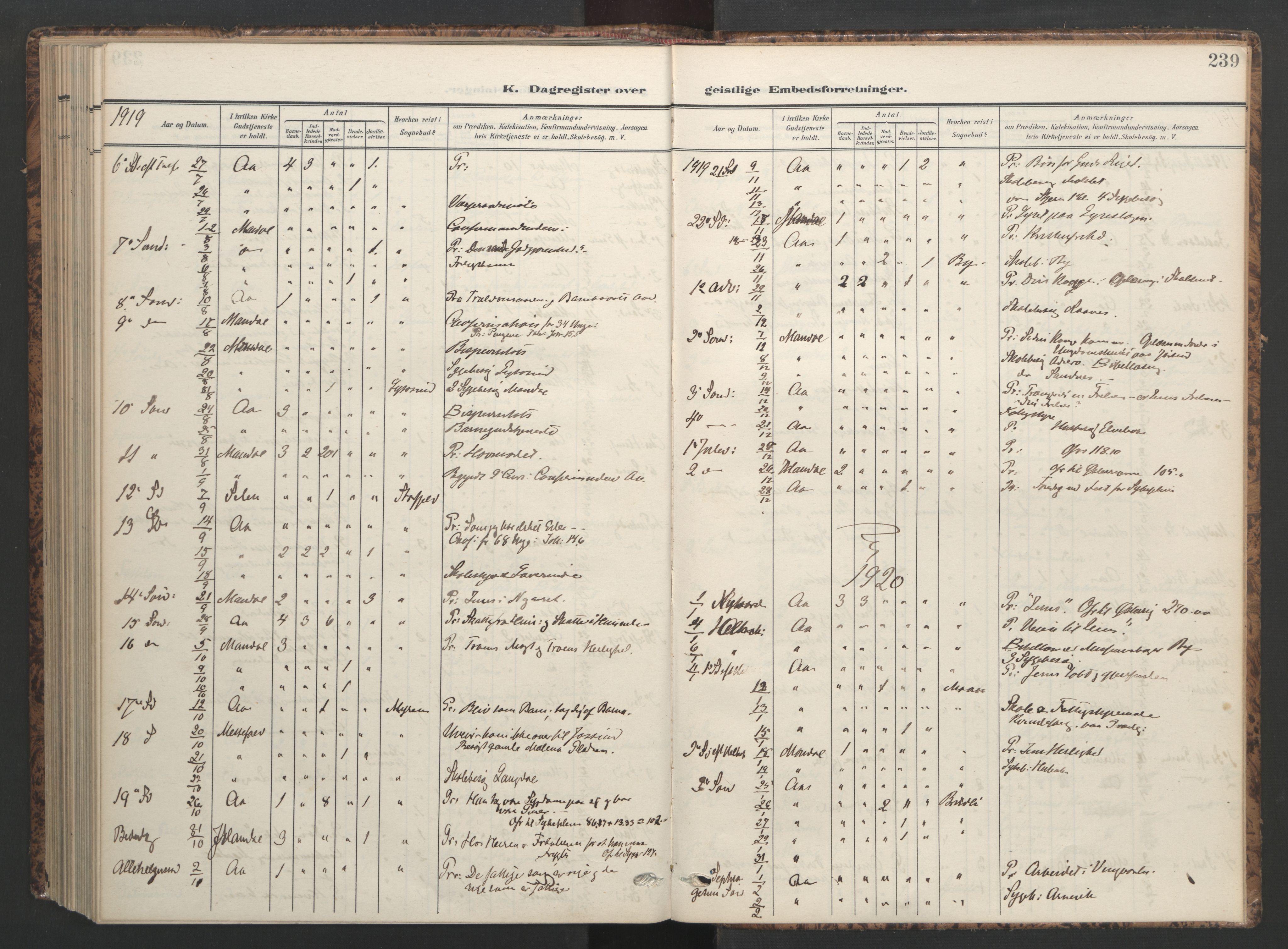 SAT, Ministerialprotokoller, klokkerbøker og fødselsregistre - Sør-Trøndelag, 655/L0682: Ministerialbok nr. 655A11, 1908-1922, s. 239