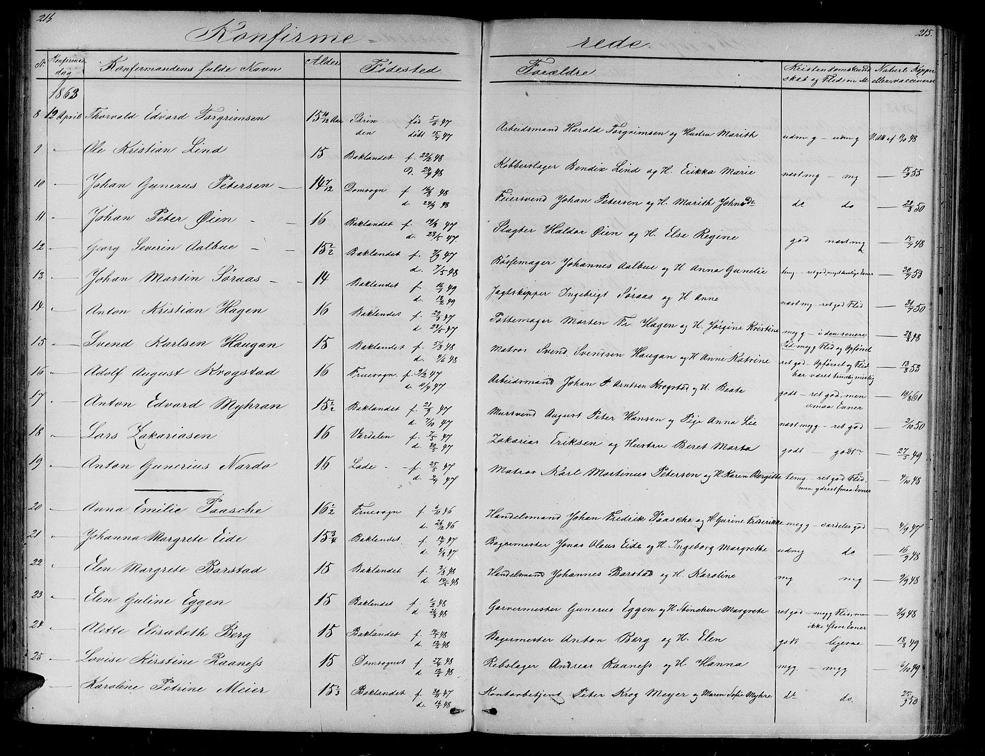 SAT, Ministerialprotokoller, klokkerbøker og fødselsregistre - Sør-Trøndelag, 604/L0219: Klokkerbok nr. 604C02, 1851-1869, s. 214-215
