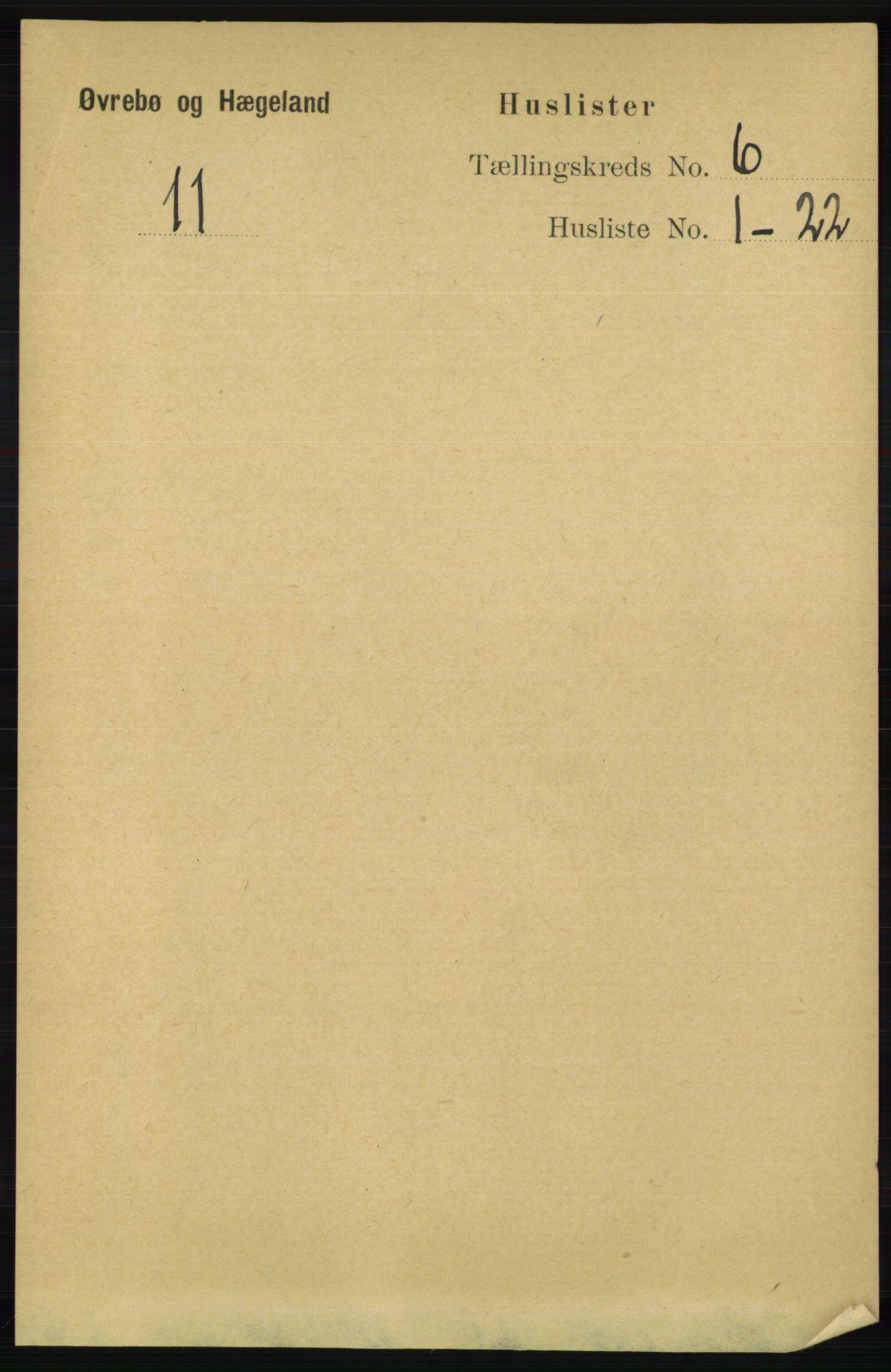 RA, Folketelling 1891 for 1016 Øvrebø og Hægeland herred, 1891, s. 1145