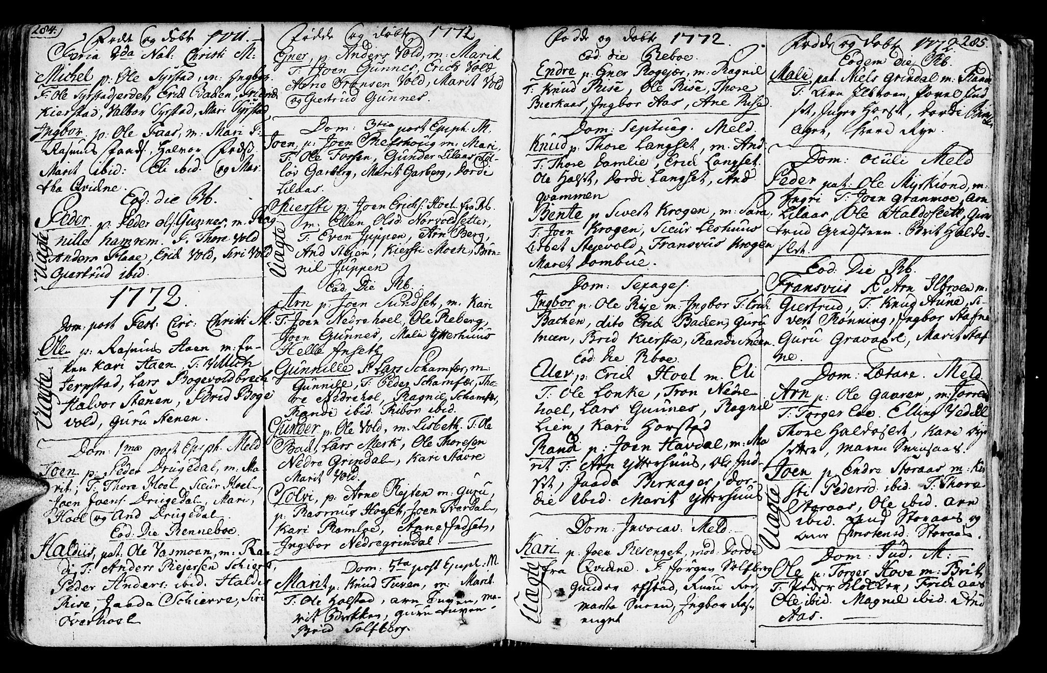 SAT, Ministerialprotokoller, klokkerbøker og fødselsregistre - Sør-Trøndelag, 672/L0851: Ministerialbok nr. 672A04, 1751-1775, s. 284-285