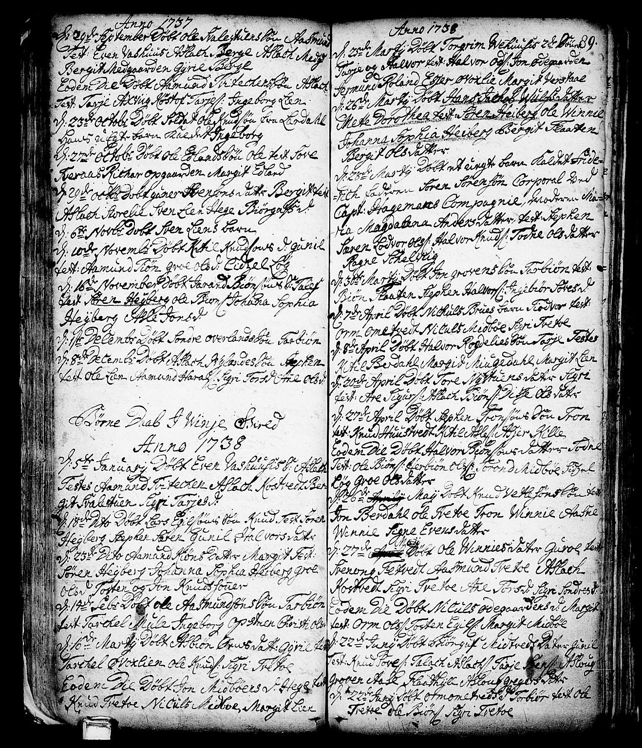 SAKO, Vinje kirkebøker, F/Fa/L0001: Ministerialbok nr. I 1, 1717-1766, s. 89