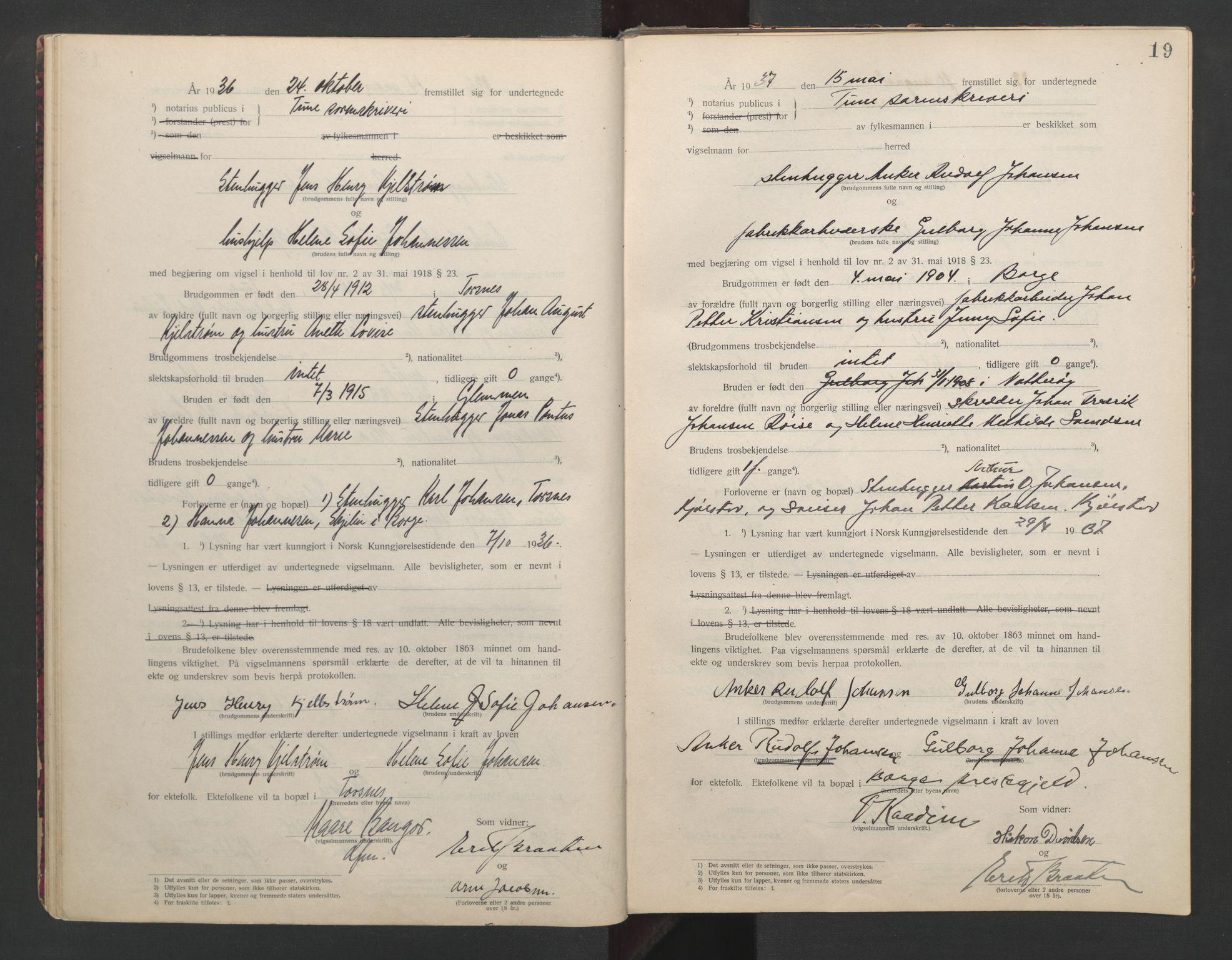 SAO, Tune sorenskriveri, L/Lb/L0001: Vigselprotokoll, 1923-1943, s. 19