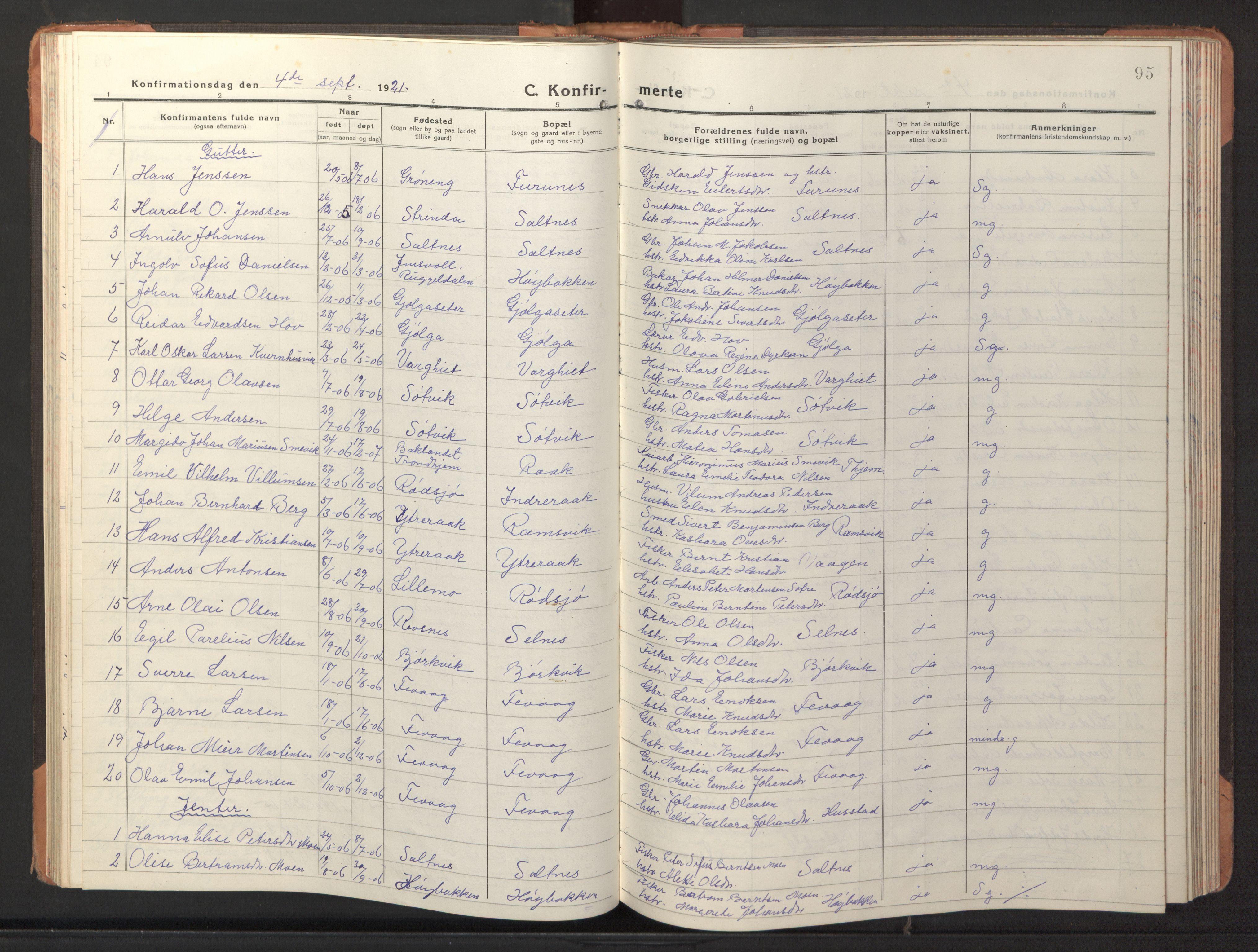 SAT, Ministerialprotokoller, klokkerbøker og fødselsregistre - Sør-Trøndelag, 653/L0658: Klokkerbok nr. 653C02, 1919-1947, s. 95