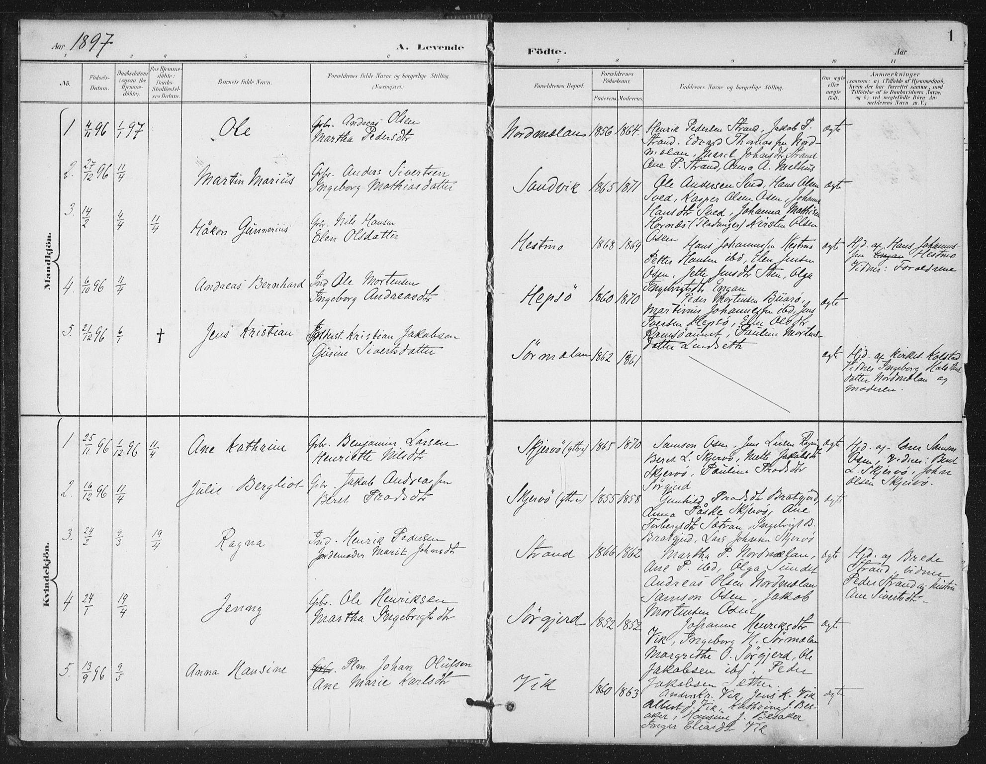 SAT, Ministerialprotokoller, klokkerbøker og fødselsregistre - Sør-Trøndelag, 658/L0723: Ministerialbok nr. 658A02, 1897-1912, s. 1