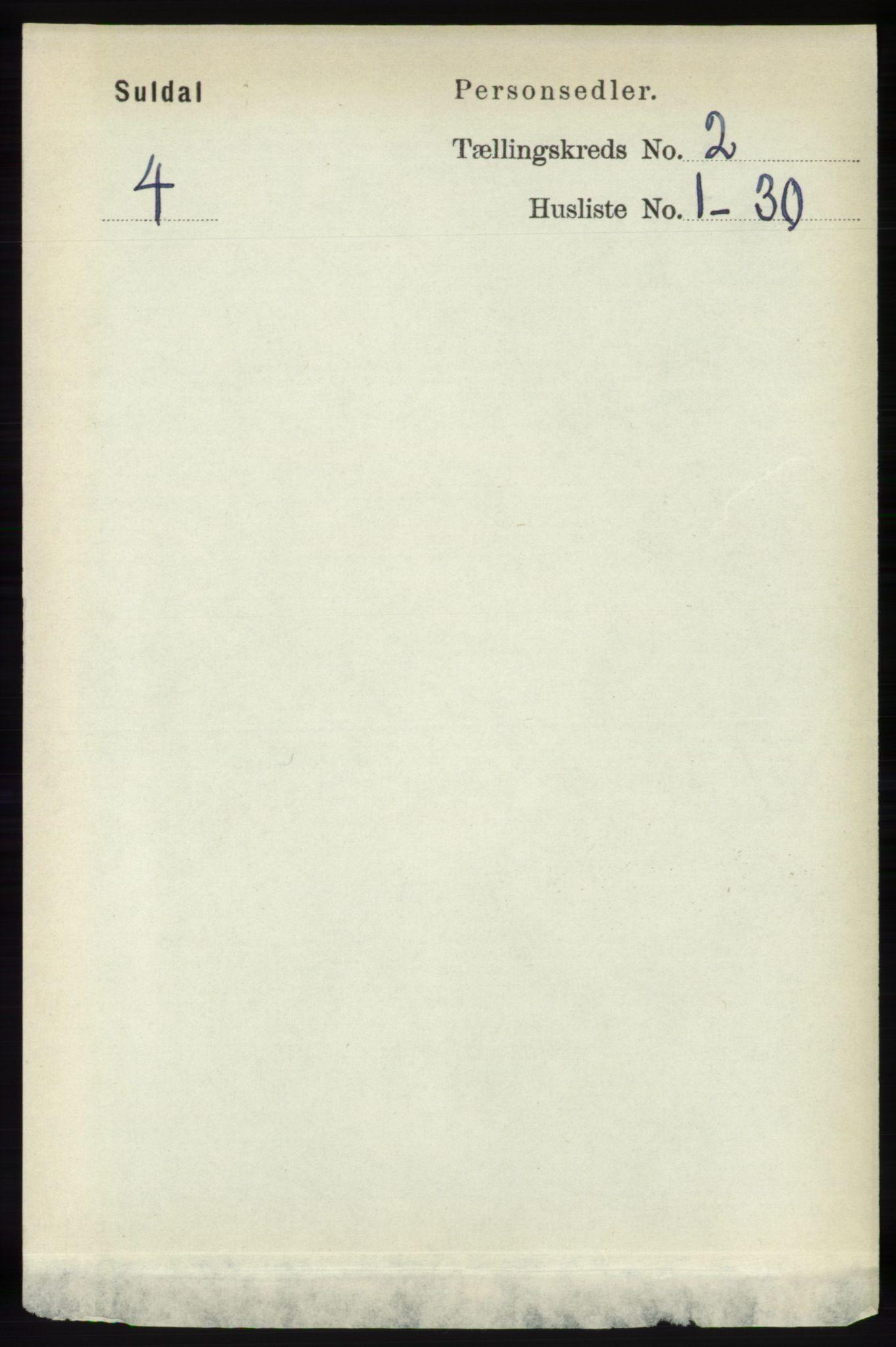 RA, Folketelling 1891 for 1134 Suldal herred, 1891, s. 257