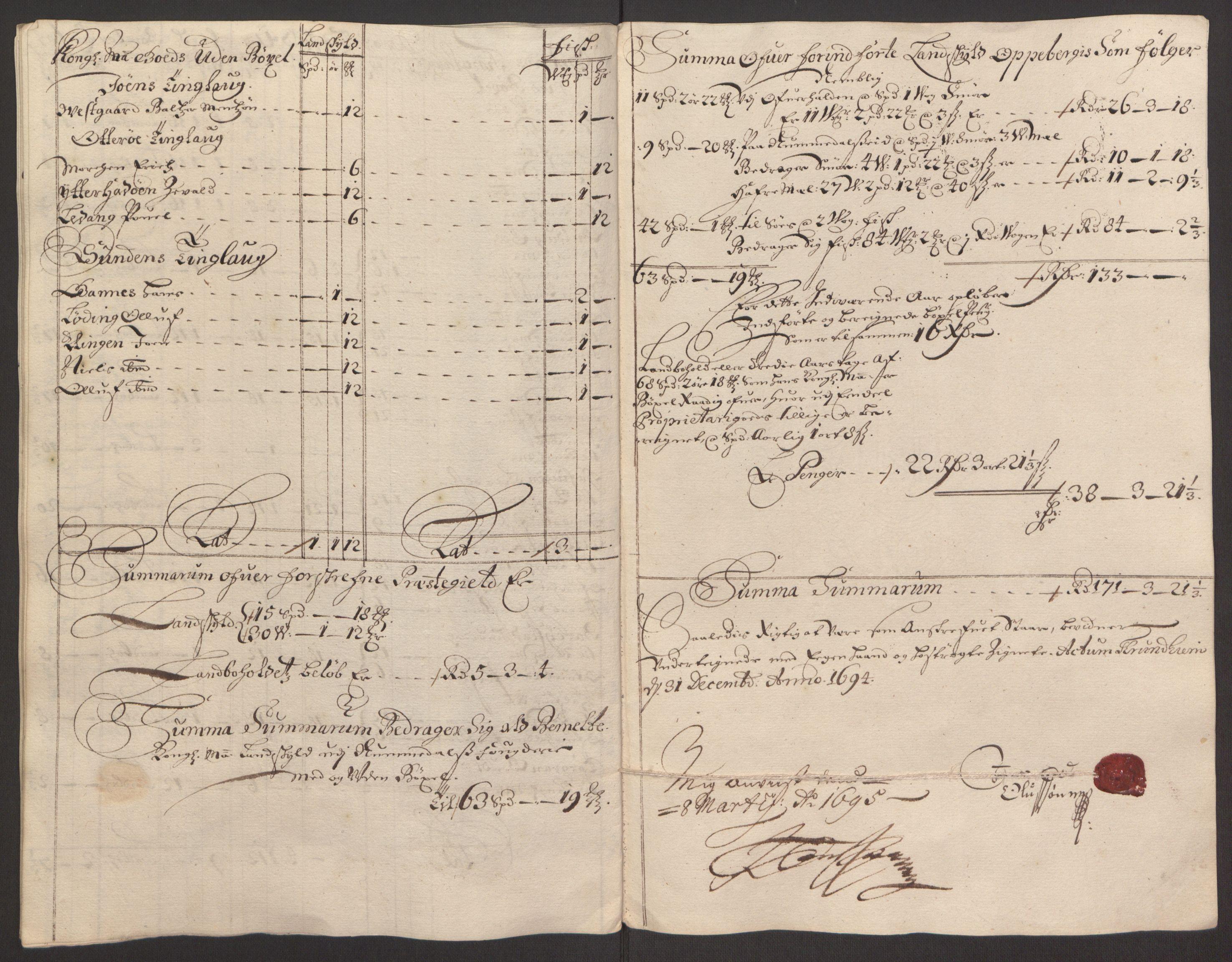 RA, Rentekammeret inntil 1814, Reviderte regnskaper, Fogderegnskap, R64/L4424: Fogderegnskap Namdal, 1692-1695, s. 378
