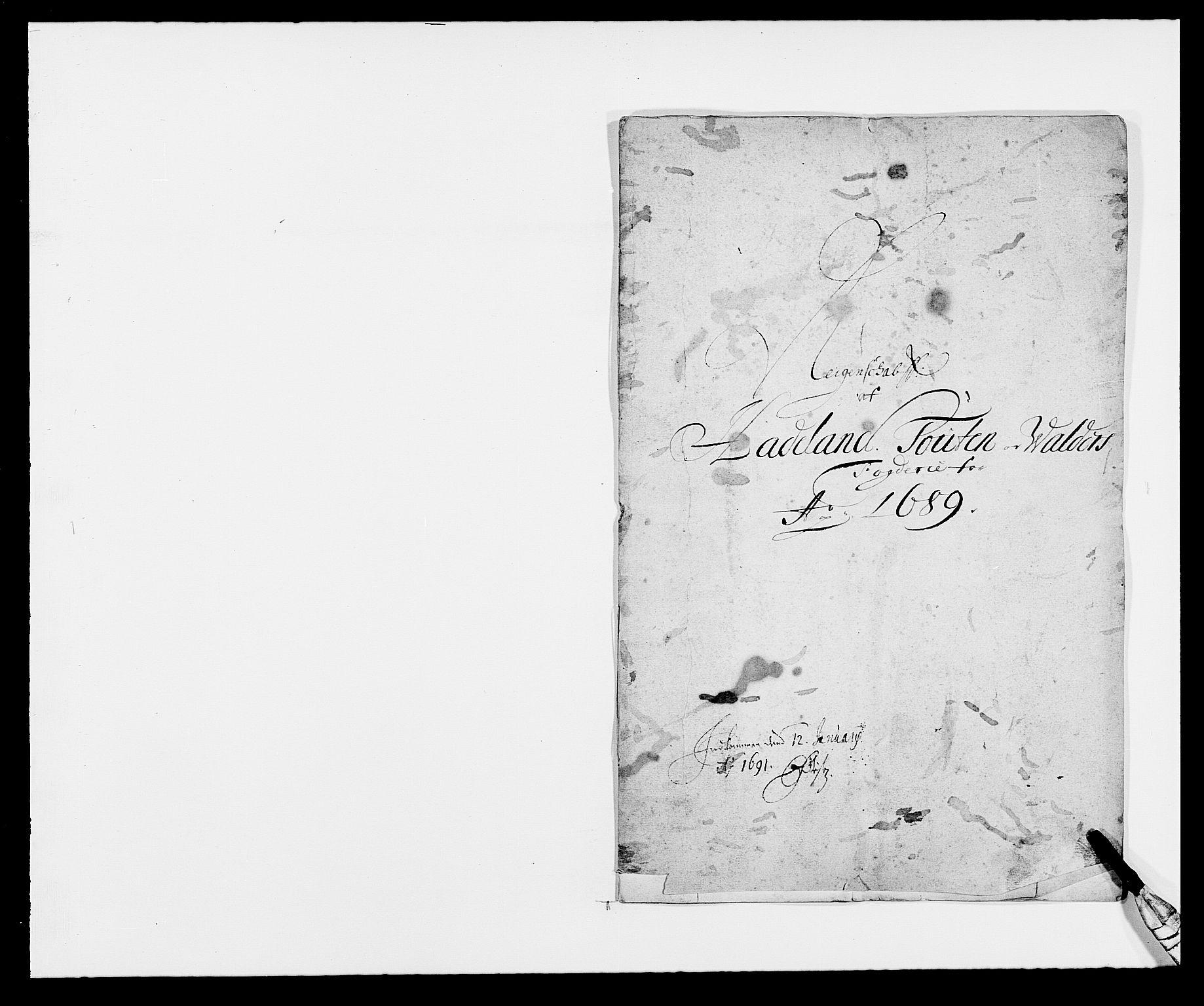 RA, Rentekammeret inntil 1814, Reviderte regnskaper, Fogderegnskap, R18/L1288: Fogderegnskap Hadeland, Toten og Valdres, 1689, s. 2