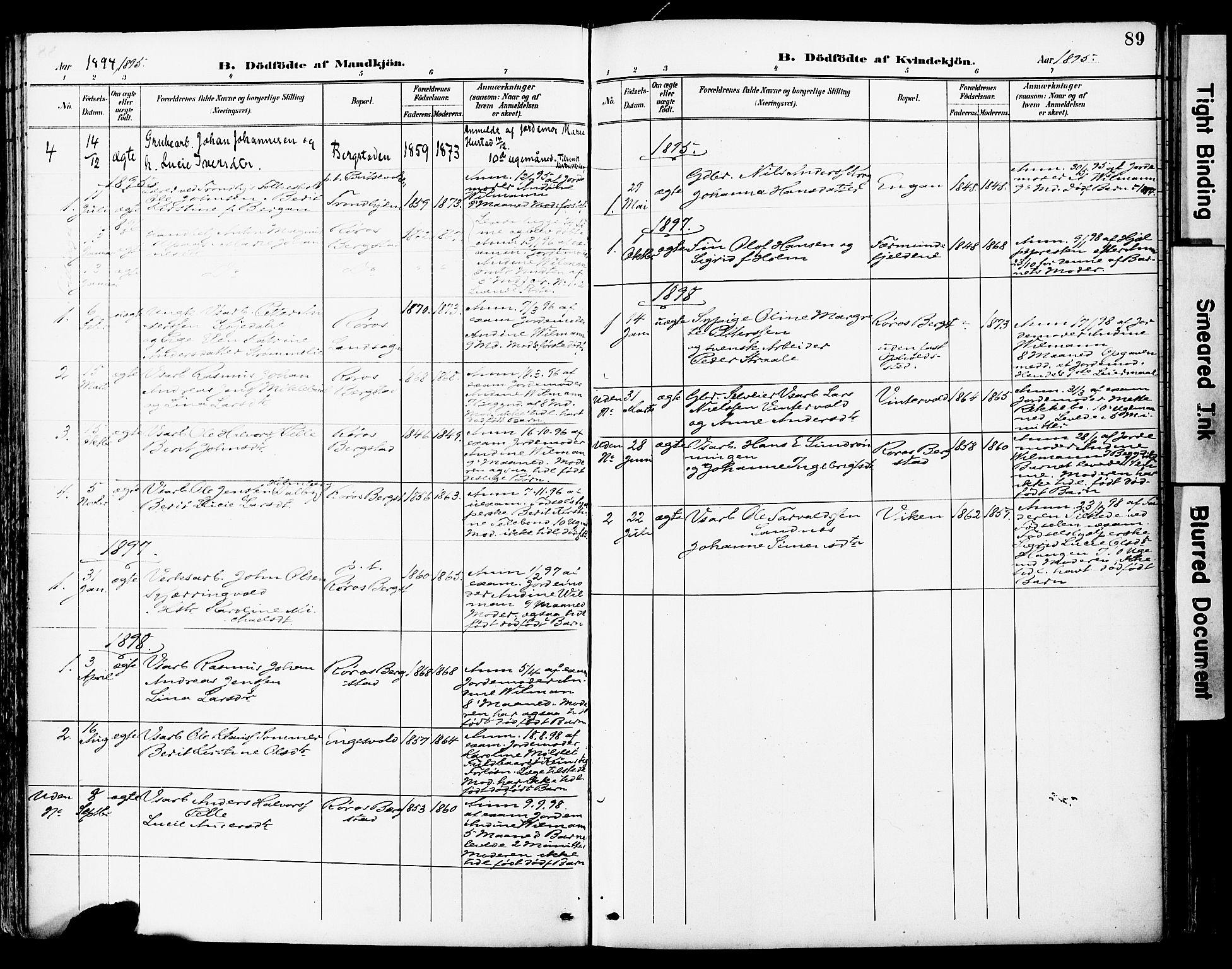 SAT, Ministerialprotokoller, klokkerbøker og fødselsregistre - Sør-Trøndelag, 681/L0935: Ministerialbok nr. 681A13, 1890-1898, s. 89