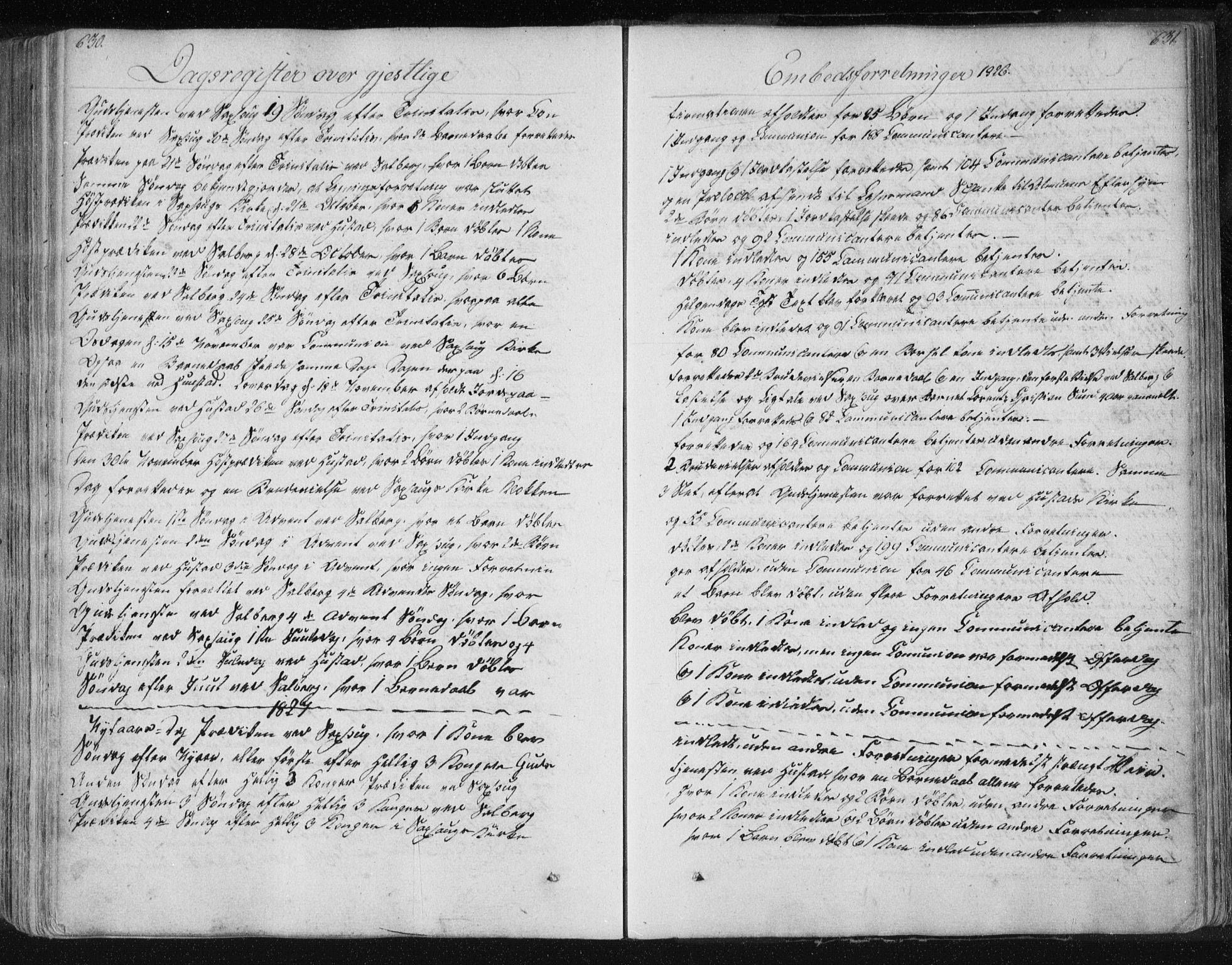 SAT, Ministerialprotokoller, klokkerbøker og fødselsregistre - Nord-Trøndelag, 730/L0276: Ministerialbok nr. 730A05, 1822-1830, s. 630-631