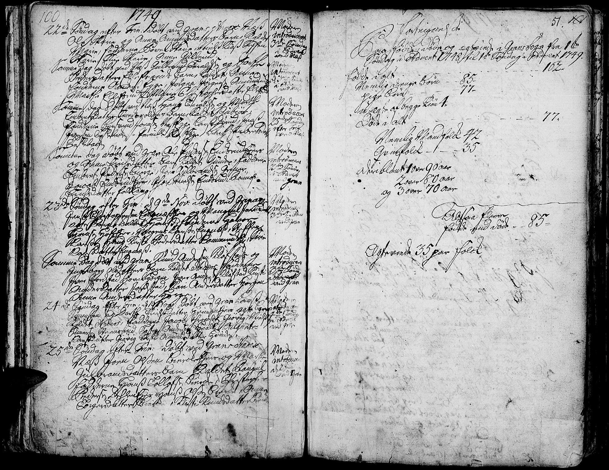 SAH, Gran prestekontor, Ministerialbok nr. 3, 1745-1758, s. 51