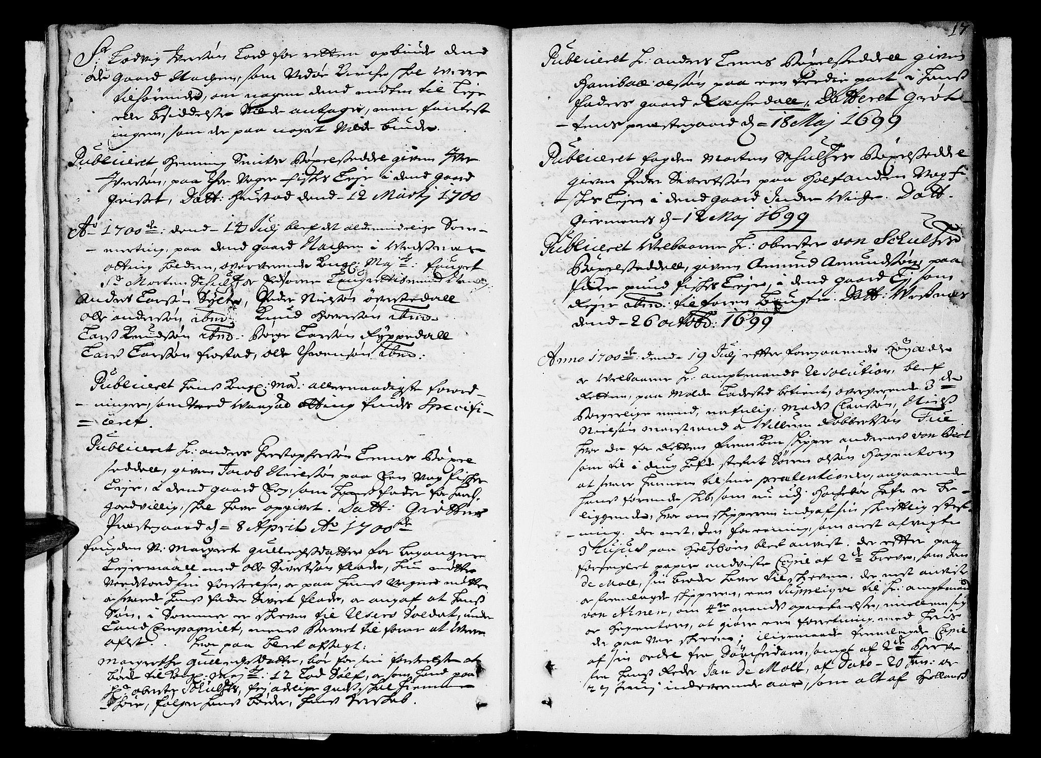 SAT, Romsdal sorenskriveri, 1/1A/L0004: Tingbok, 1700-1705, s. 16b-17a