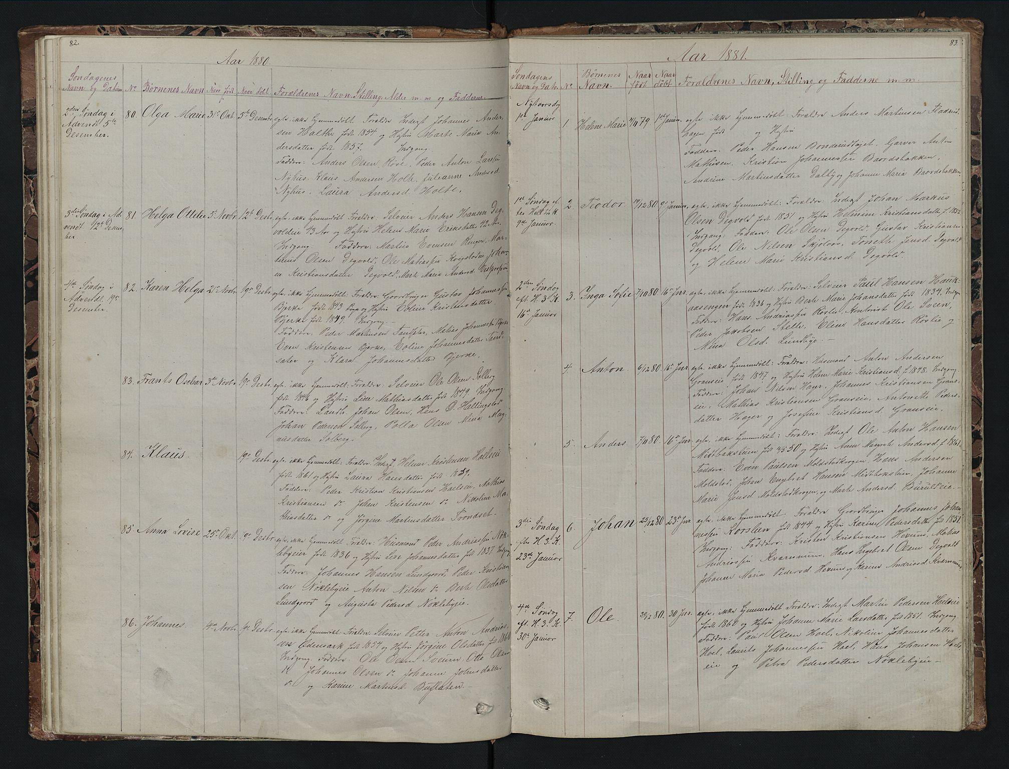 SAH, Vestre Toten prestekontor, H/Ha/Hab/L0007: Klokkerbok nr. 7, 1872-1900, s. 82-83