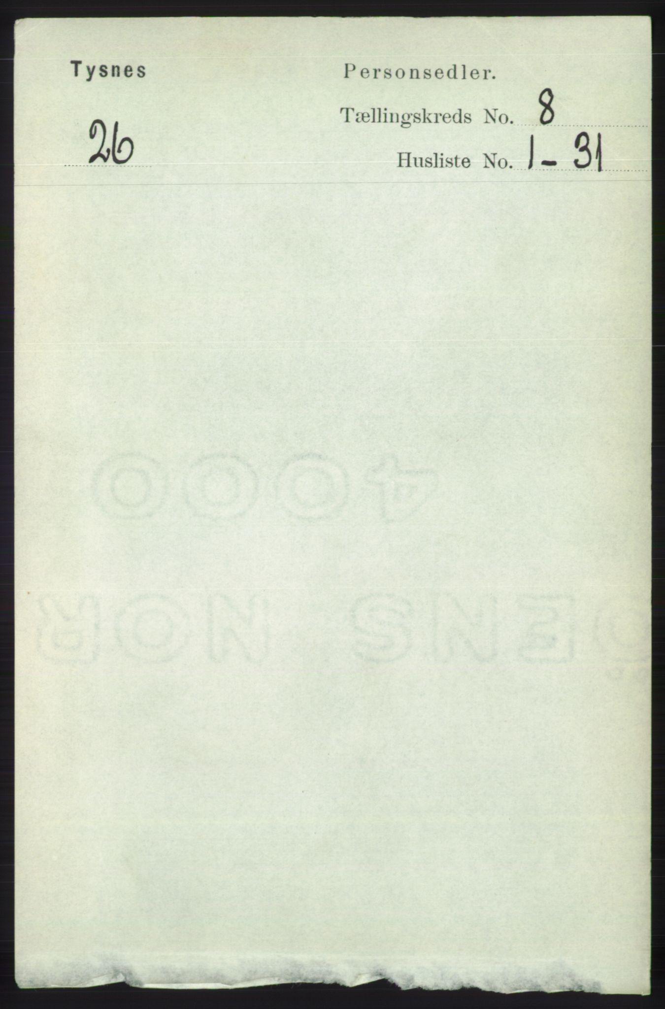 RA, Folketelling 1891 for 1223 Tysnes herred, 1891, s. 3657