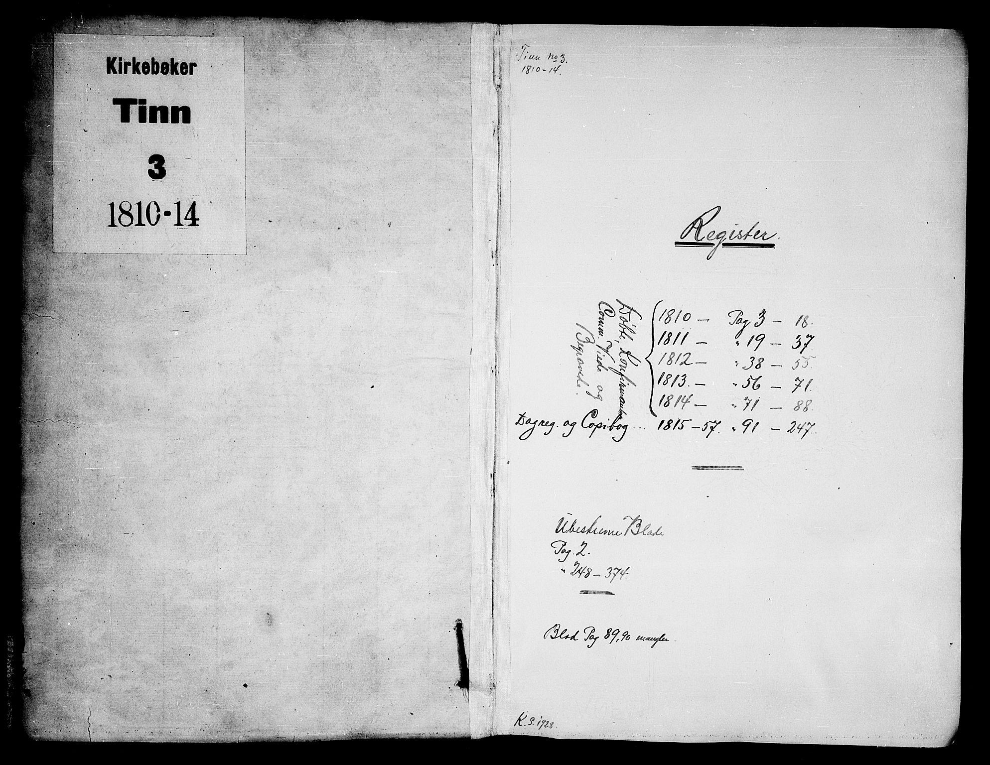 SAKO, Tinn kirkebøker, F/Fa/L0003: Ministerialbok nr. I 3, 1810-1814