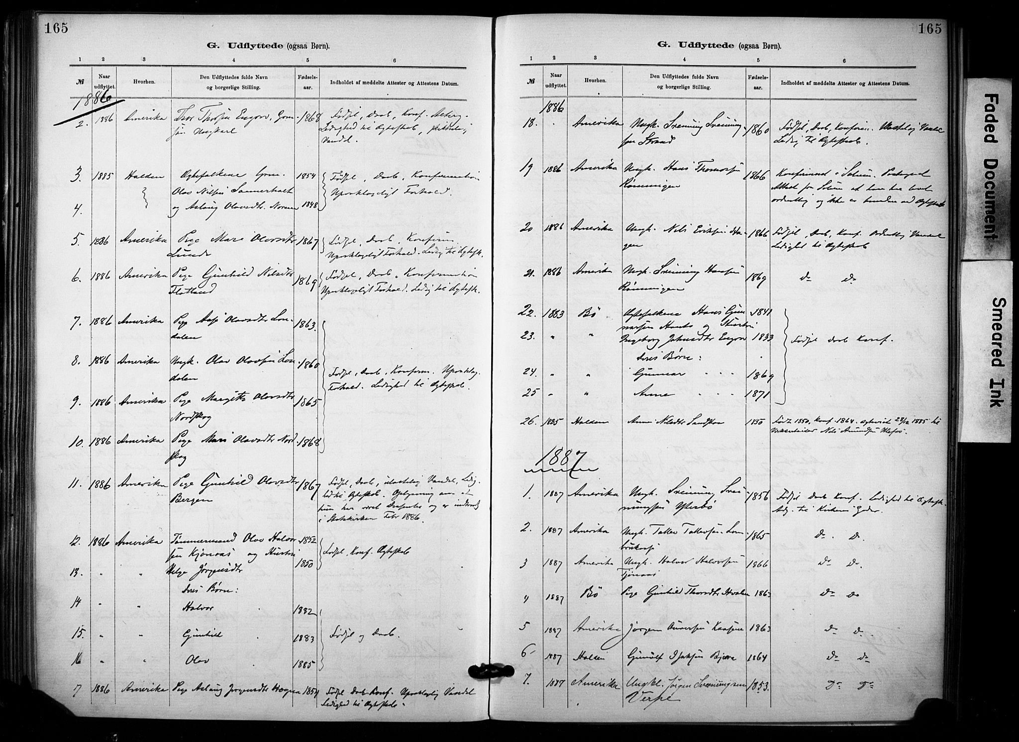 SAKO, Lunde kirkebøker, F/Fa/L0002: Ministerialbok nr. I 2, 1884-1892, s. 165