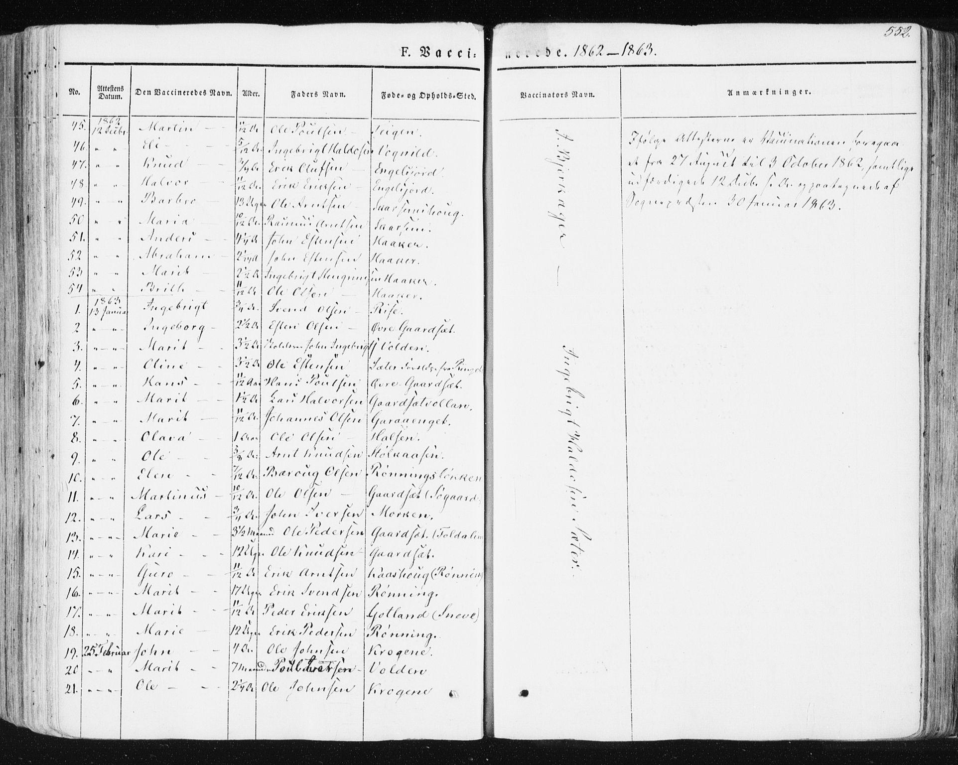 SAT, Ministerialprotokoller, klokkerbøker og fødselsregistre - Sør-Trøndelag, 678/L0899: Ministerialbok nr. 678A08, 1848-1872, s. 552