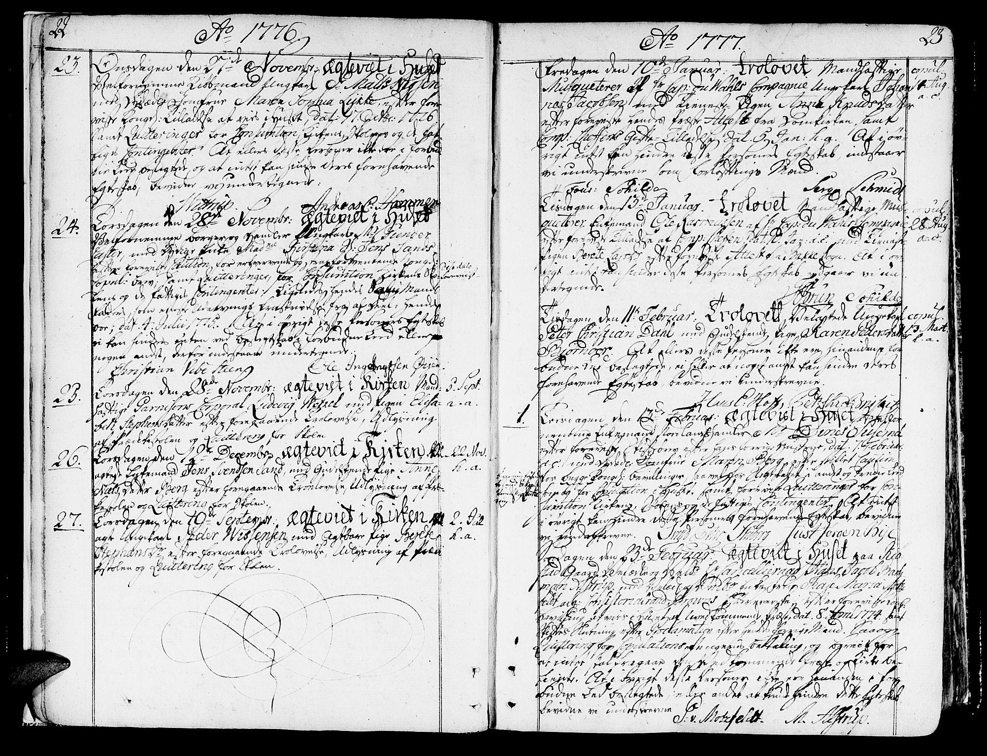 SAT, Ministerialprotokoller, klokkerbøker og fødselsregistre - Sør-Trøndelag, 602/L0105: Ministerialbok nr. 602A03, 1774-1814, s. 22-23