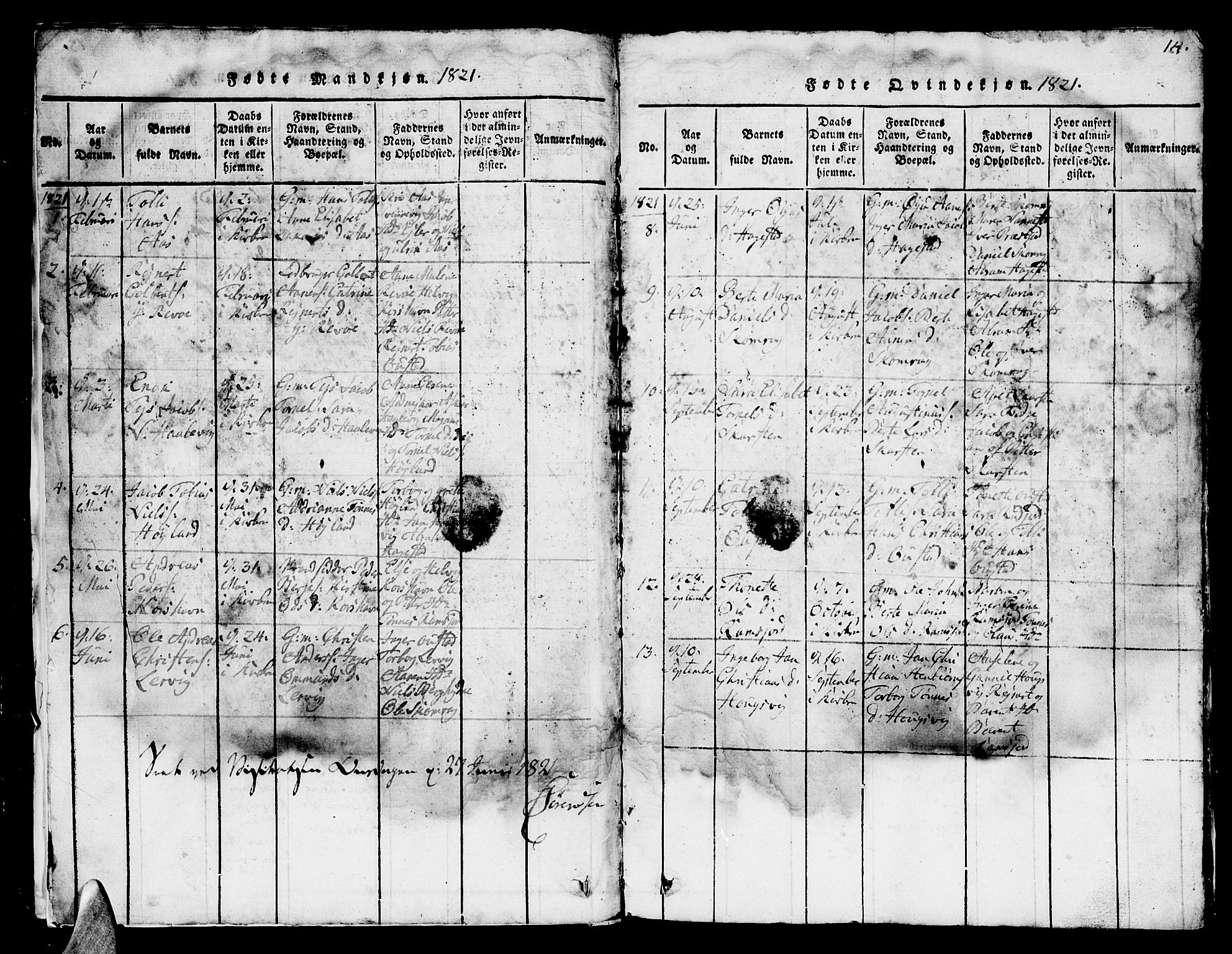 SAK, Lyngdal sokneprestkontor, F/Fb/Fba/L0001: Klokkerbok nr. B 1, 1816-1876, s. 14