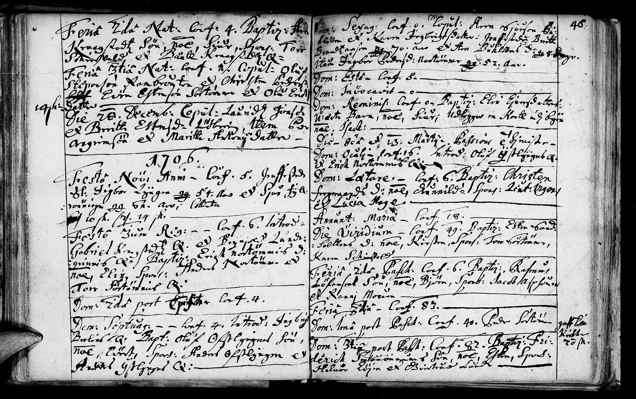 SAT, Ministerialprotokoller, klokkerbøker og fødselsregistre - Sør-Trøndelag, 692/L1101: Ministerialbok nr. 692A01, 1690-1746, s. 46