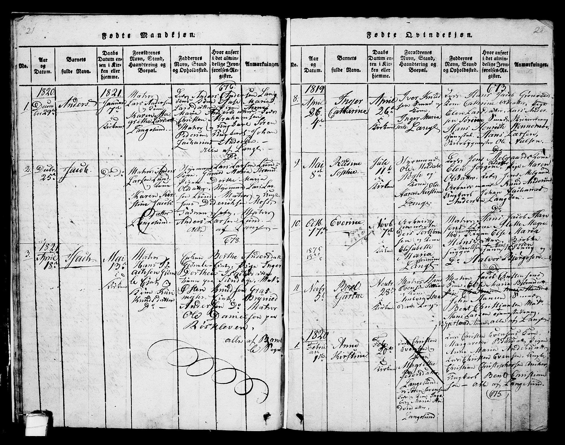 SAKO, Langesund kirkebøker, G/Ga/L0003: Klokkerbok nr. 3, 1815-1858, s. 21-22