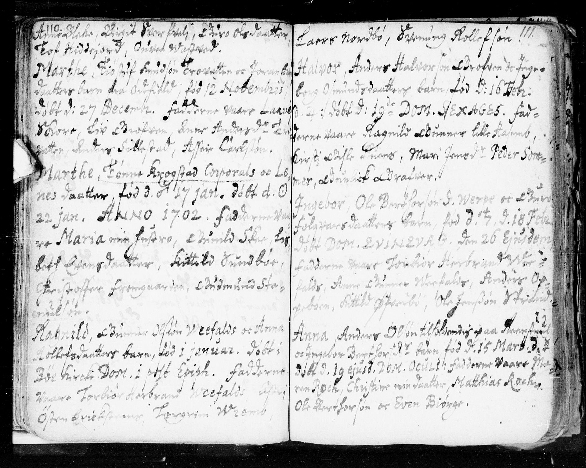 SAKO, Seljord kirkebøker, F/Fa/L0002: Ministerialbok nr. I 2, 1689-1713, s. 110-111