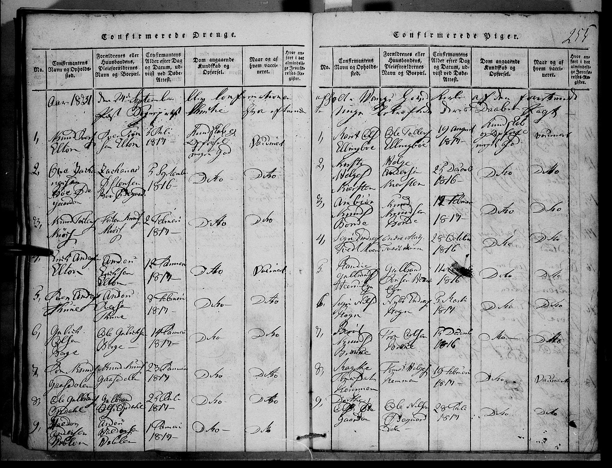SAH, Vang prestekontor, Valdres, Klokkerbok nr. 1, 1814-1820, s. 255