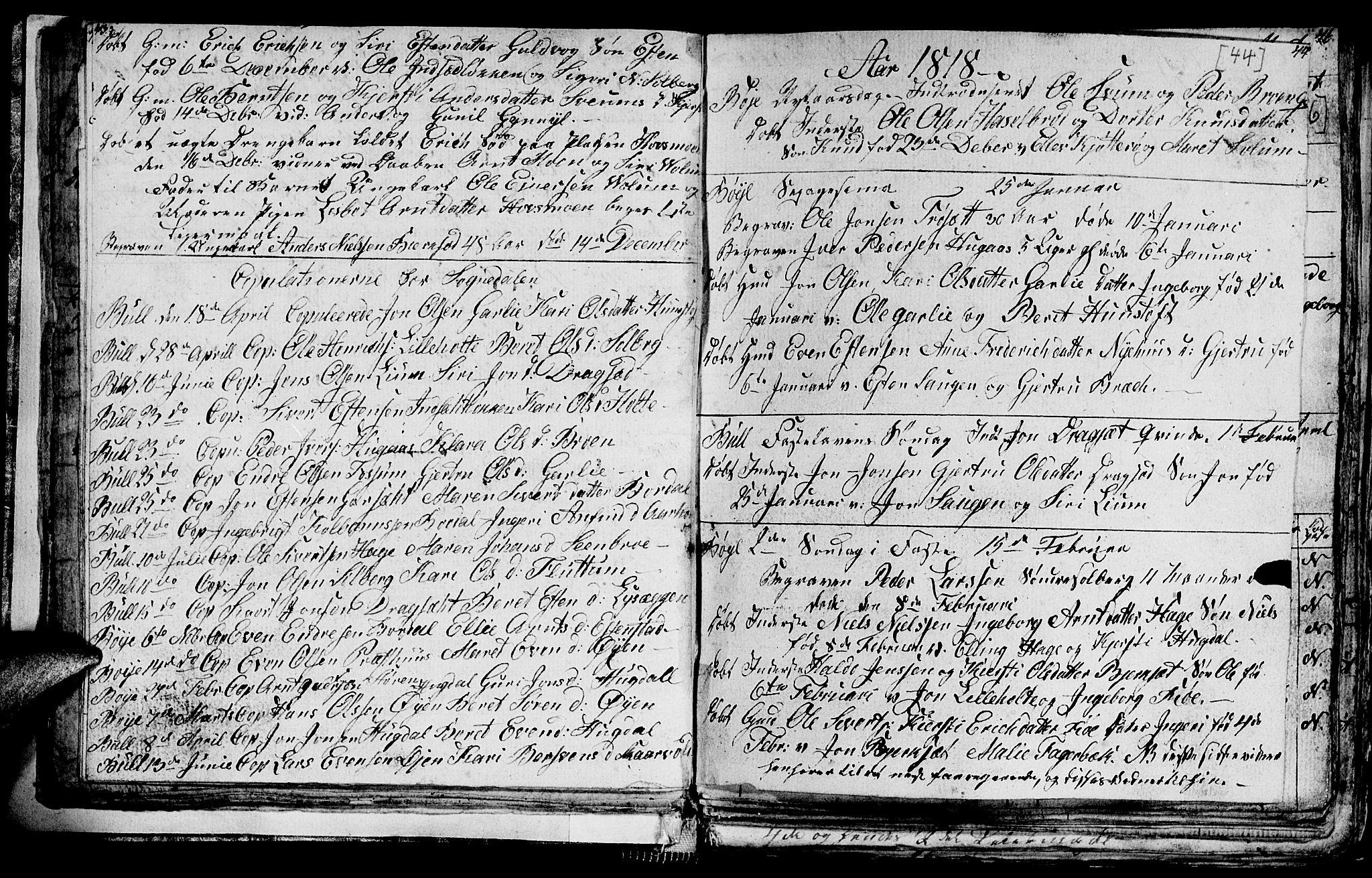 SAT, Ministerialprotokoller, klokkerbøker og fødselsregistre - Sør-Trøndelag, 689/L1042: Klokkerbok nr. 689C01, 1812-1841, s. 43-44