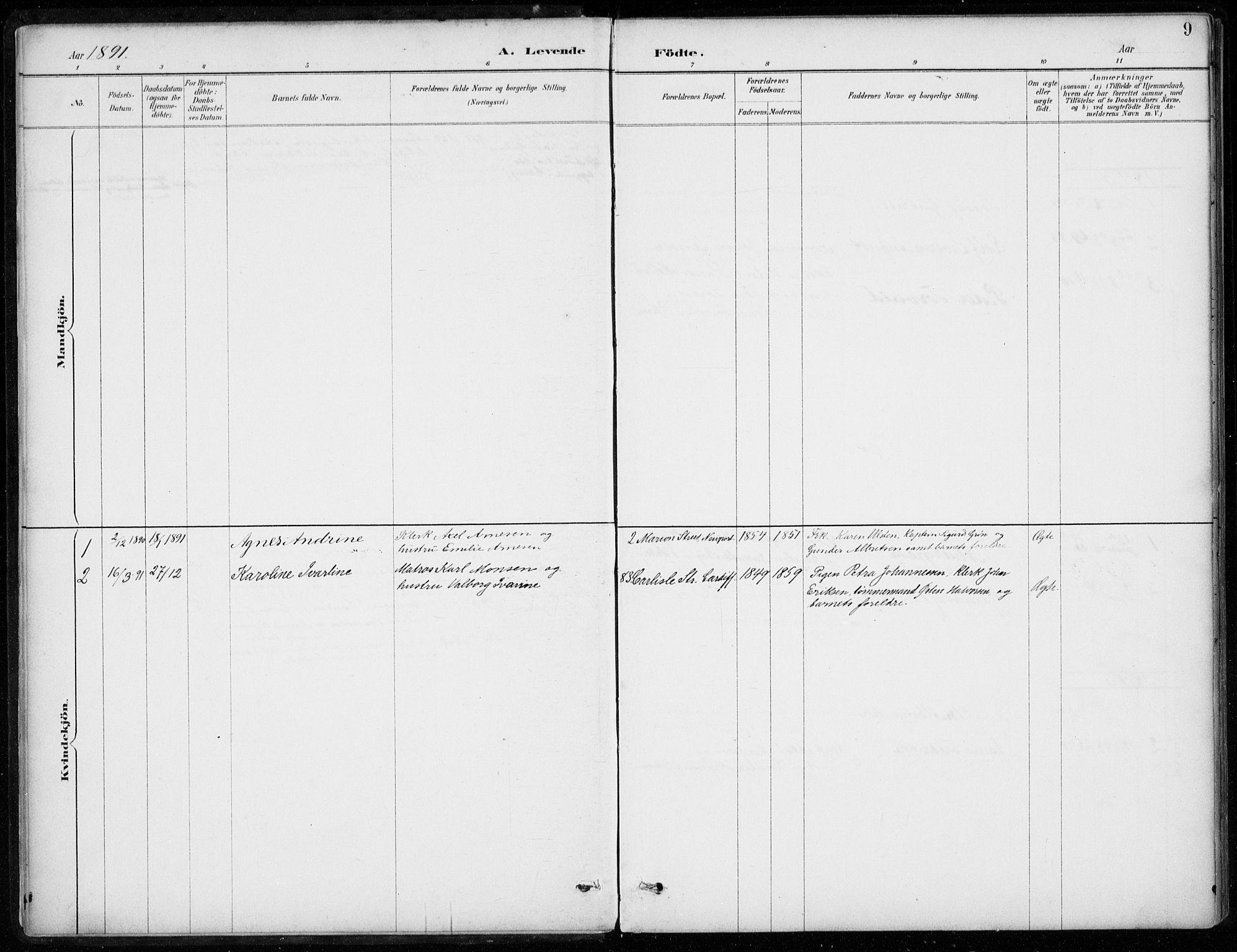 SAB, Den Norske Sjømannsmisjon i utlandet*, Ministerialbok nr. A 2, 1887-1932, s. 9