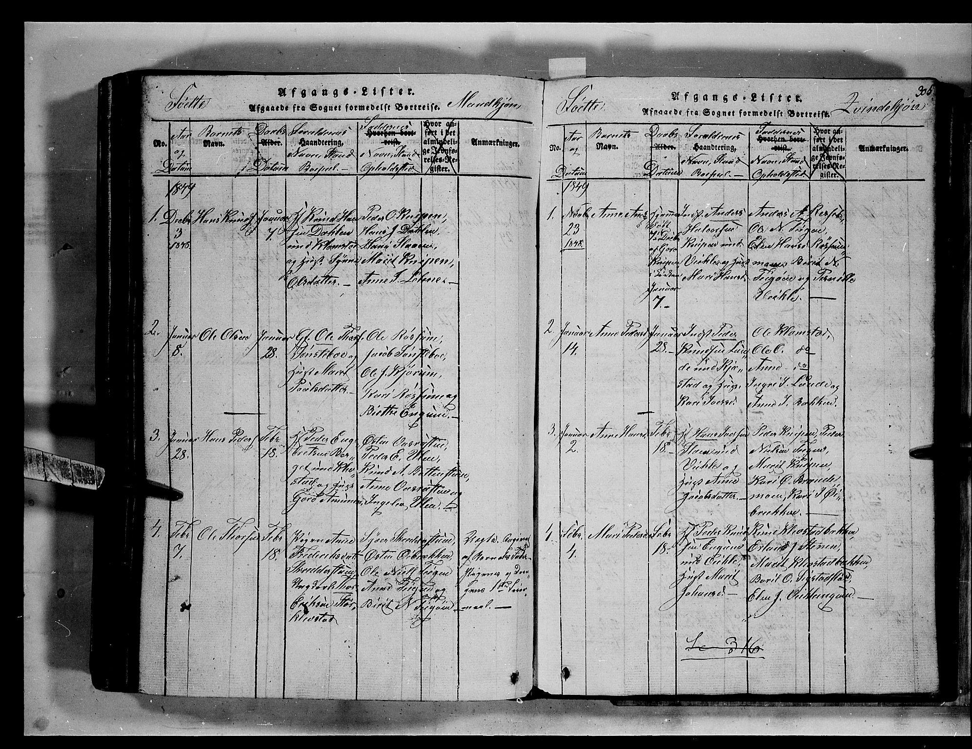 SAH, Fron prestekontor, H/Ha/Hab/L0002: Klokkerbok nr. 2, 1816-1850, s. 305