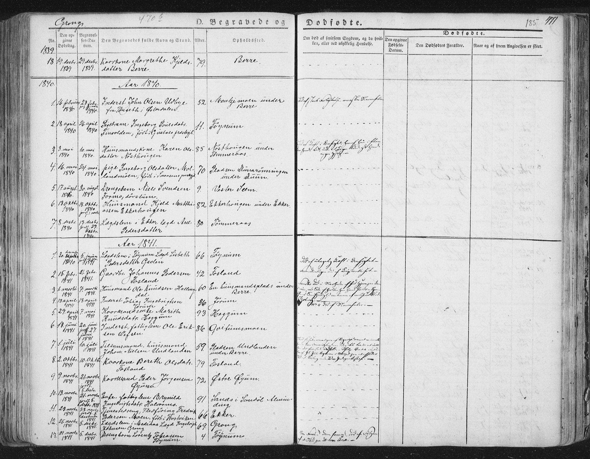 SAT, Ministerialprotokoller, klokkerbøker og fødselsregistre - Nord-Trøndelag, 758/L0513: Ministerialbok nr. 758A02 /1, 1839-1868, s. 185