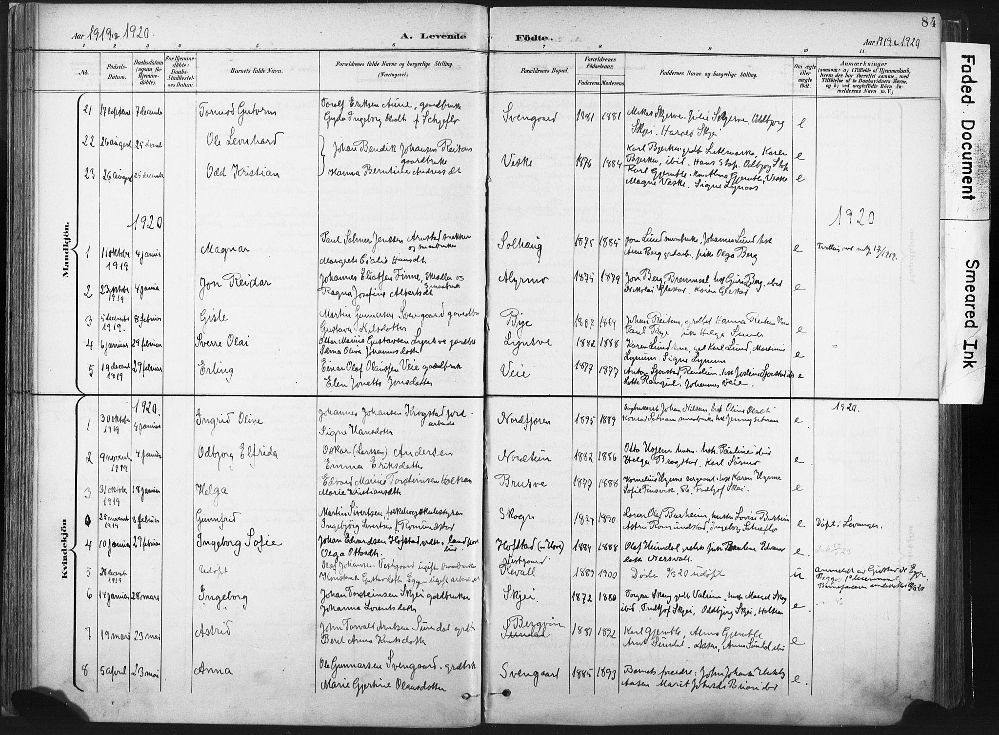 SAT, Ministerialprotokoller, klokkerbøker og fødselsregistre - Nord-Trøndelag, 717/L0162: Ministerialbok nr. 717A12, 1898-1923, s. 84