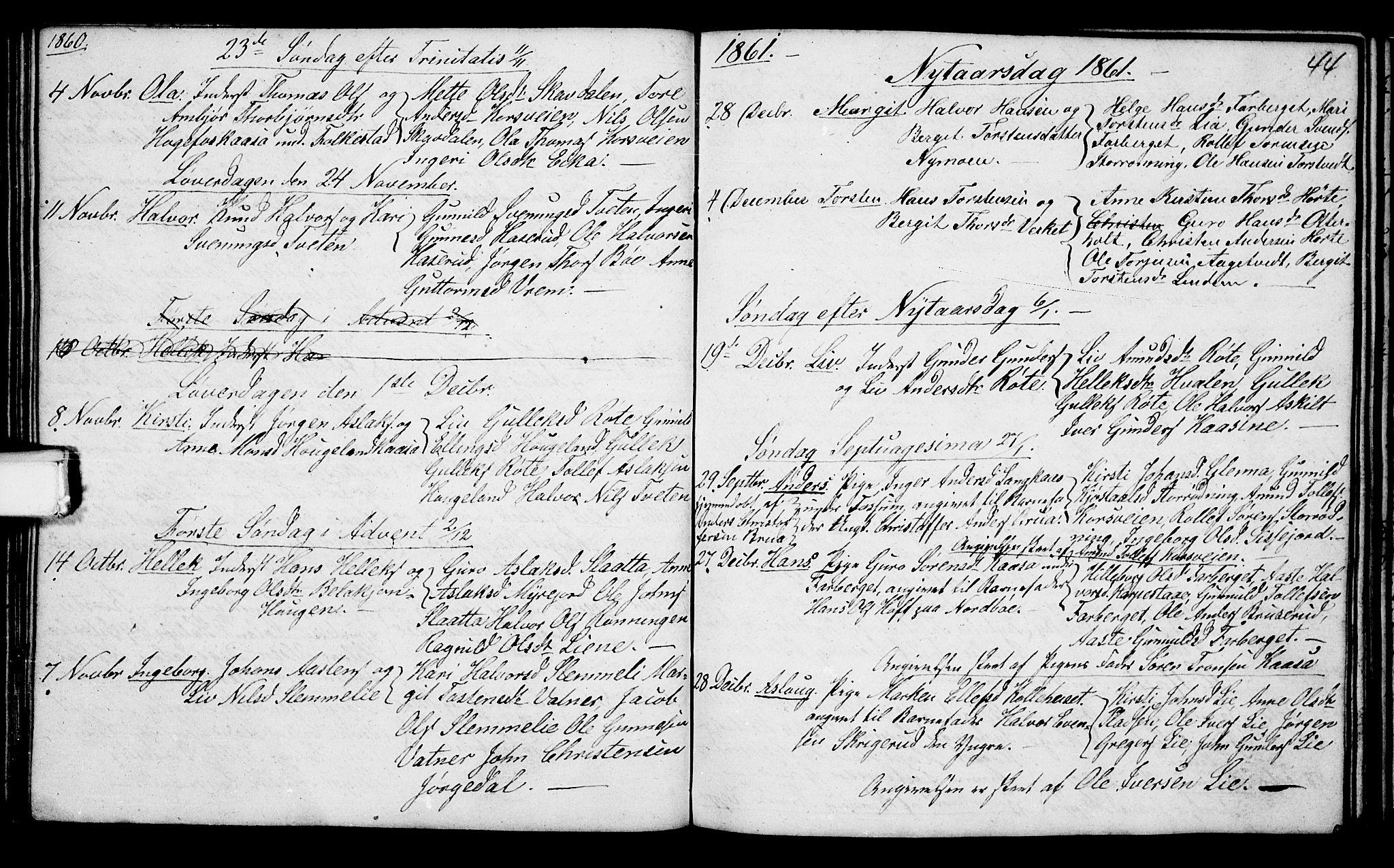SAKO, Bø kirkebøker, G/Ga/L0002: Klokkerbok nr. 2, 1853-1866, s. 44