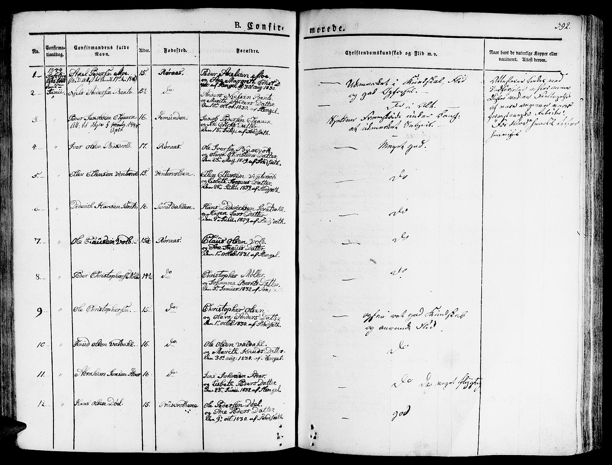 SAT, Ministerialprotokoller, klokkerbøker og fødselsregistre - Sør-Trøndelag, 681/L0930: Ministerialbok nr. 681A08, 1829-1844, s. 392