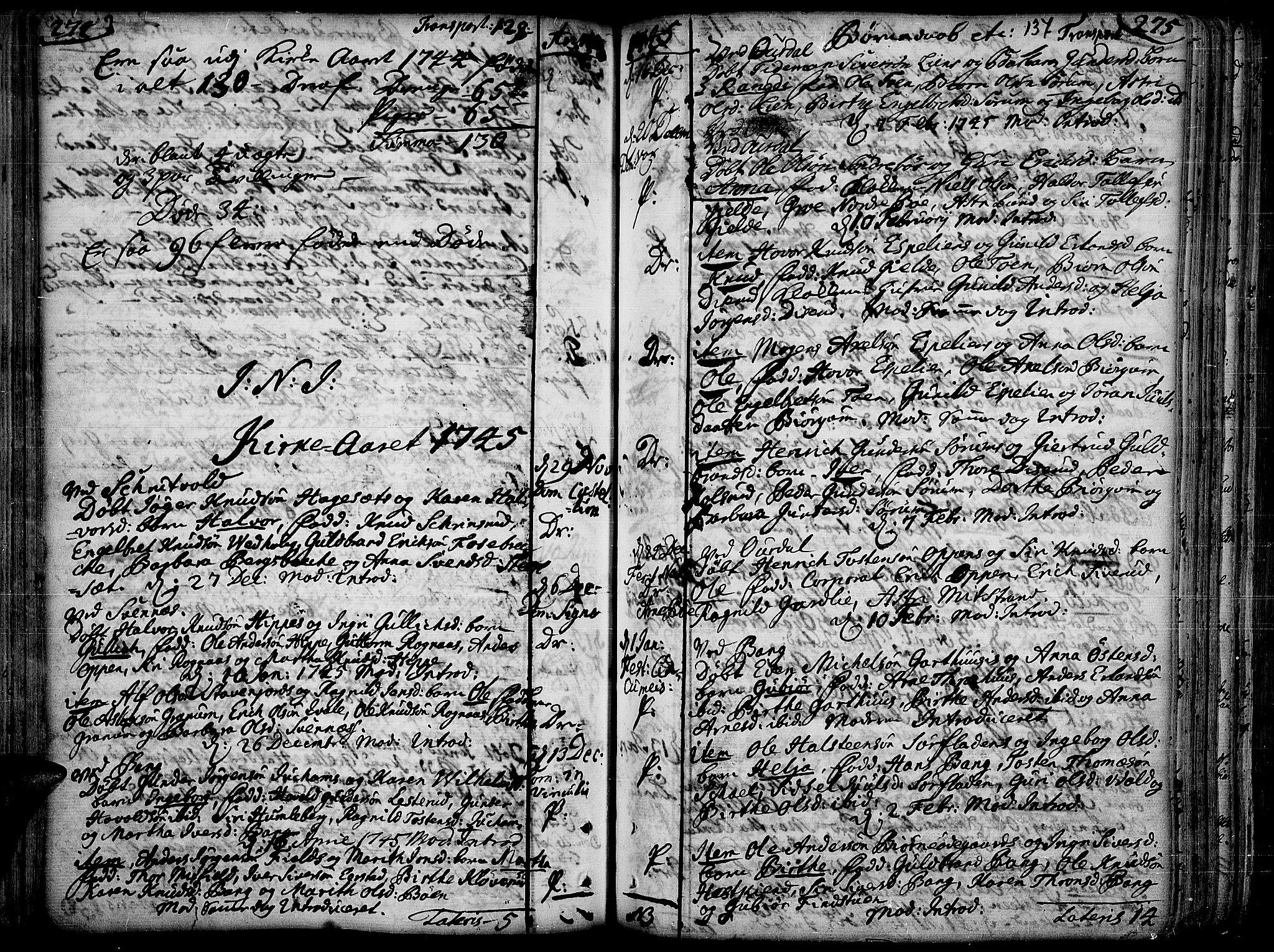 SAH, Aurdal prestekontor, Ministerialbok nr. 4, 1730-1762, s. 274-275