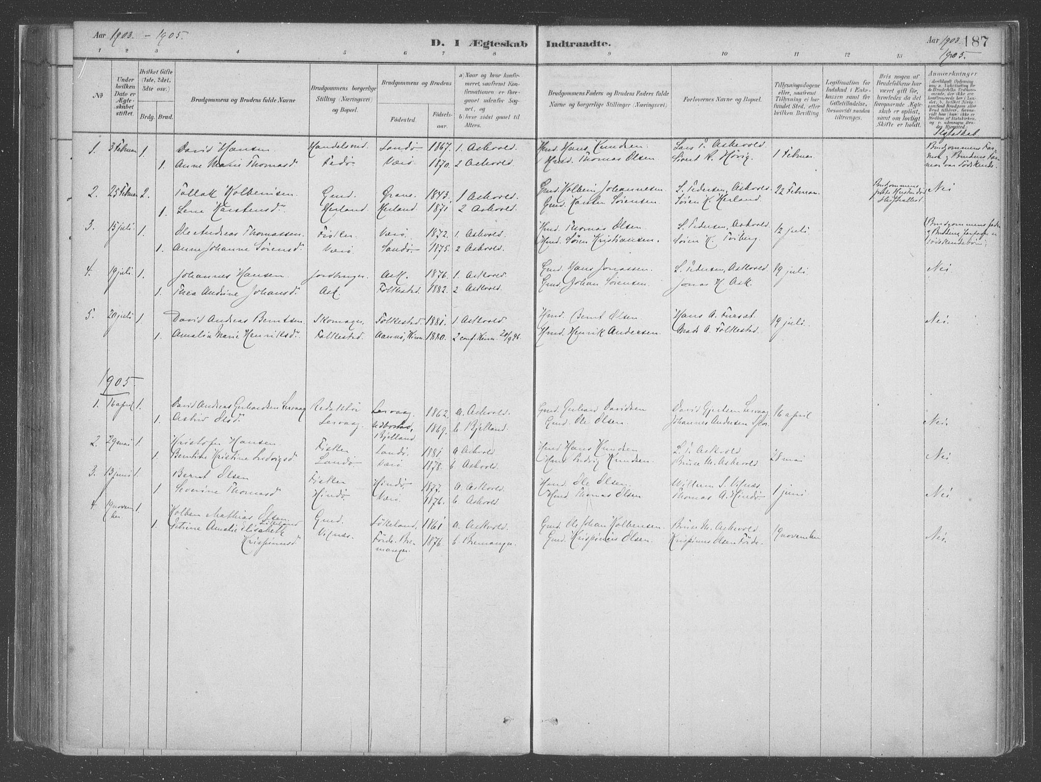 SAB, Askvoll Sokneprestembete, H/Haa/Haac/L0001: Ministerialbok nr. C  1, 1879-1922, s. 187