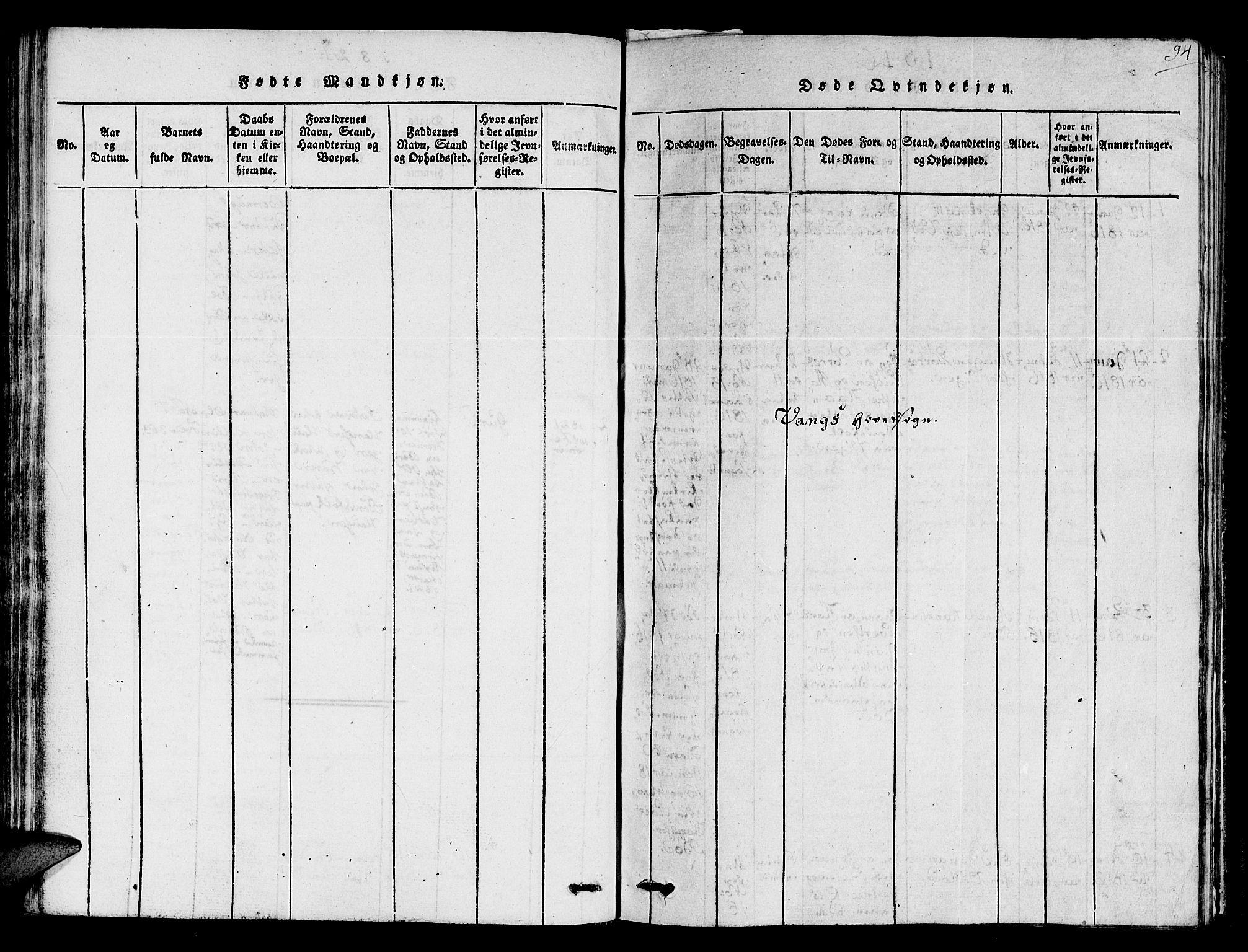SAT, Ministerialprotokoller, klokkerbøker og fødselsregistre - Sør-Trøndelag, 678/L0895: Ministerialbok nr. 678A05 /1, 1816-1821, s. 94