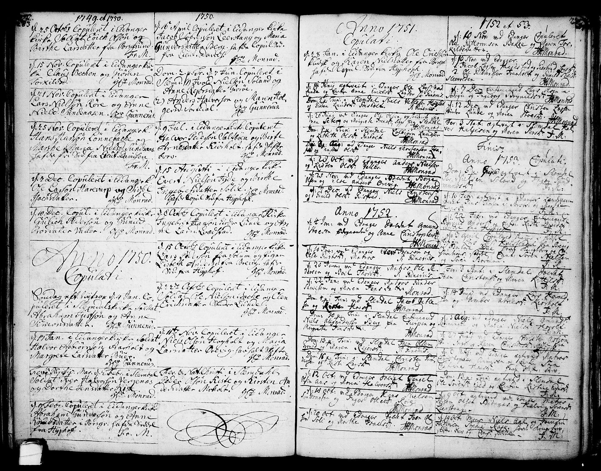 SAKO, Eidanger kirkebøker, F/Fa/L0004: Ministerialbok nr. 4, 1733-1759, s. 283-284