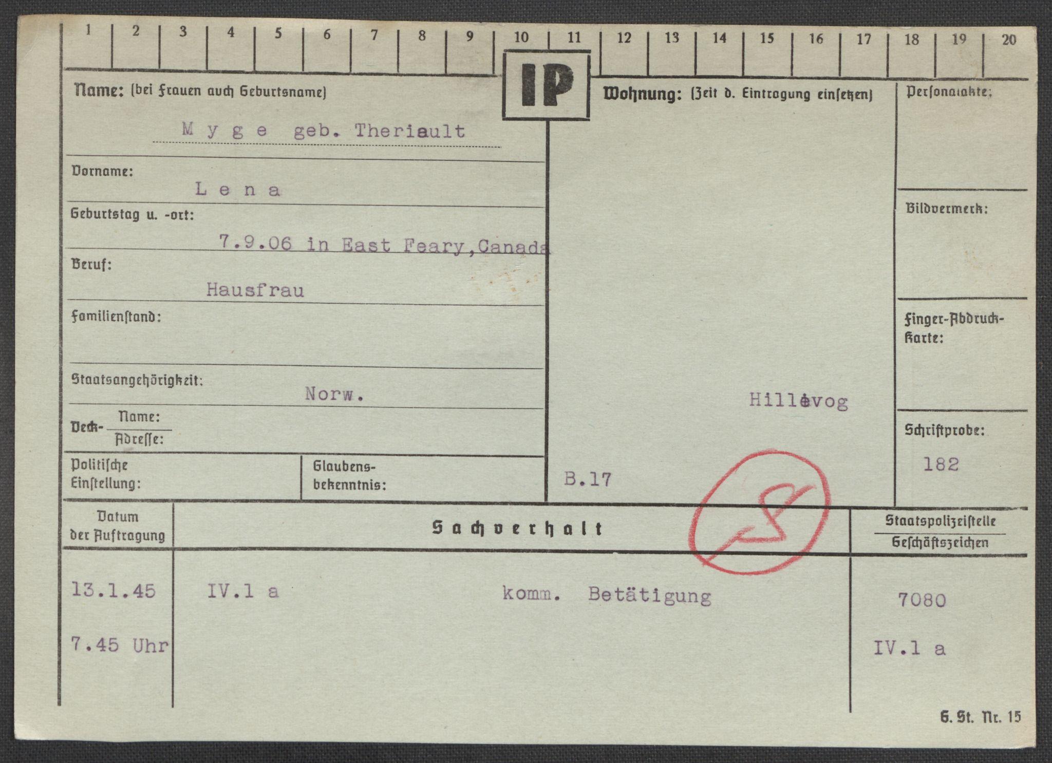 RA, Befehlshaber der Sicherheitspolizei und des SD, E/Ea/Eaa/L0007: Register over norske fanger i Møllergata 19: Lundb-N, 1940-1945, s. 876