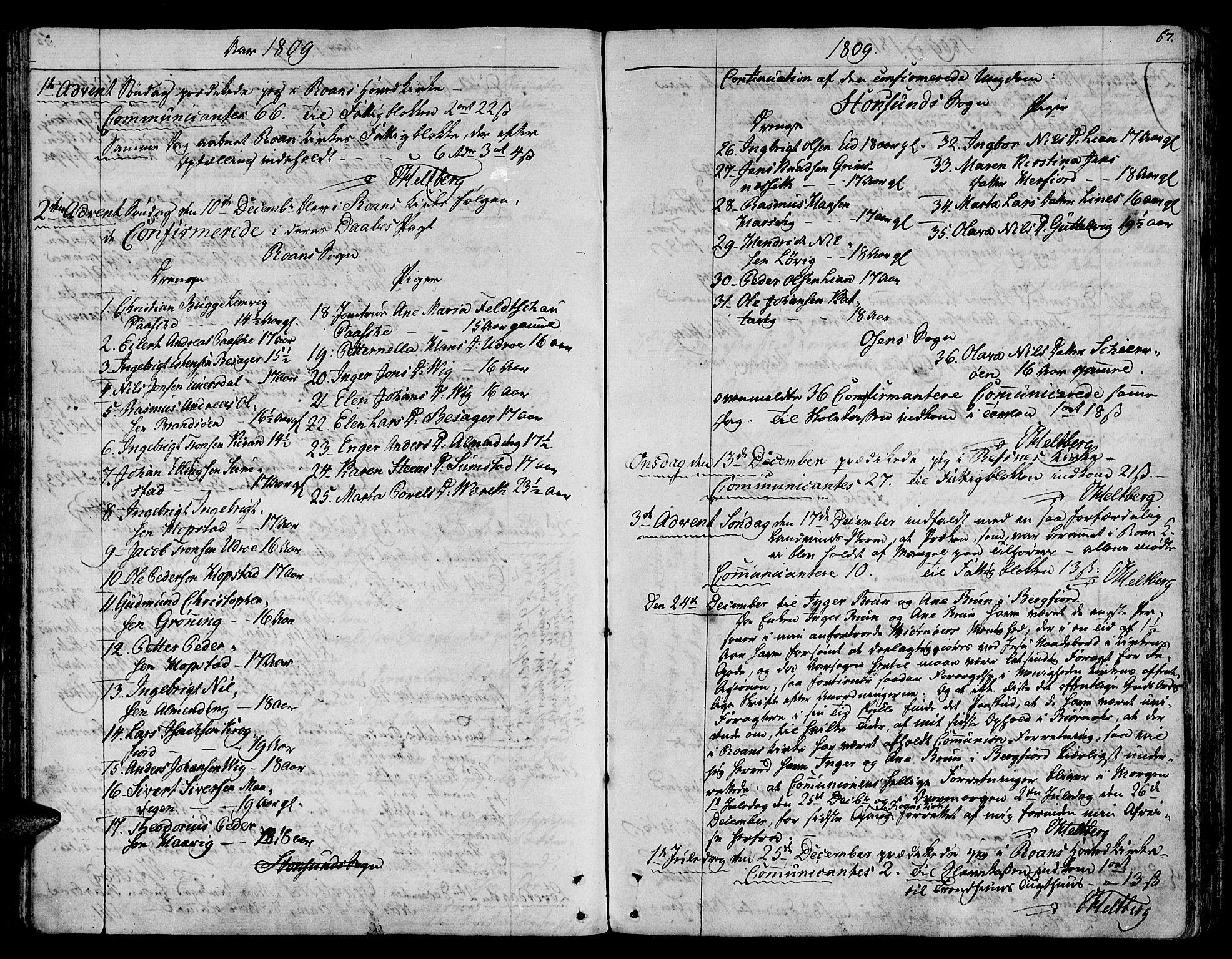 SAT, Ministerialprotokoller, klokkerbøker og fødselsregistre - Sør-Trøndelag, 657/L0701: Ministerialbok nr. 657A02, 1802-1831, s. 67