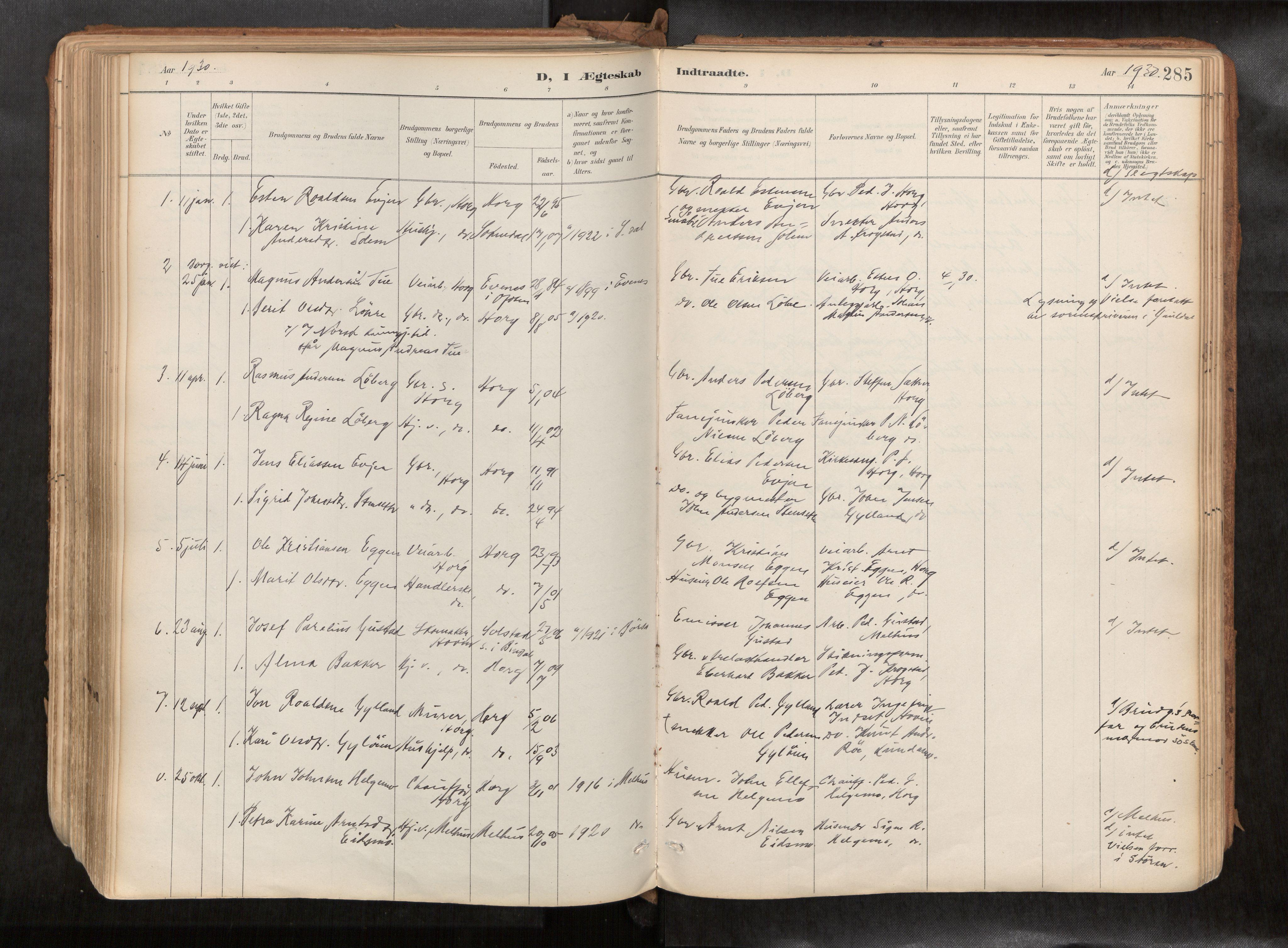 SAT, Ministerialprotokoller, klokkerbøker og fødselsregistre - Sør-Trøndelag, 692/L1105b: Ministerialbok nr. 692A06, 1891-1934, s. 285