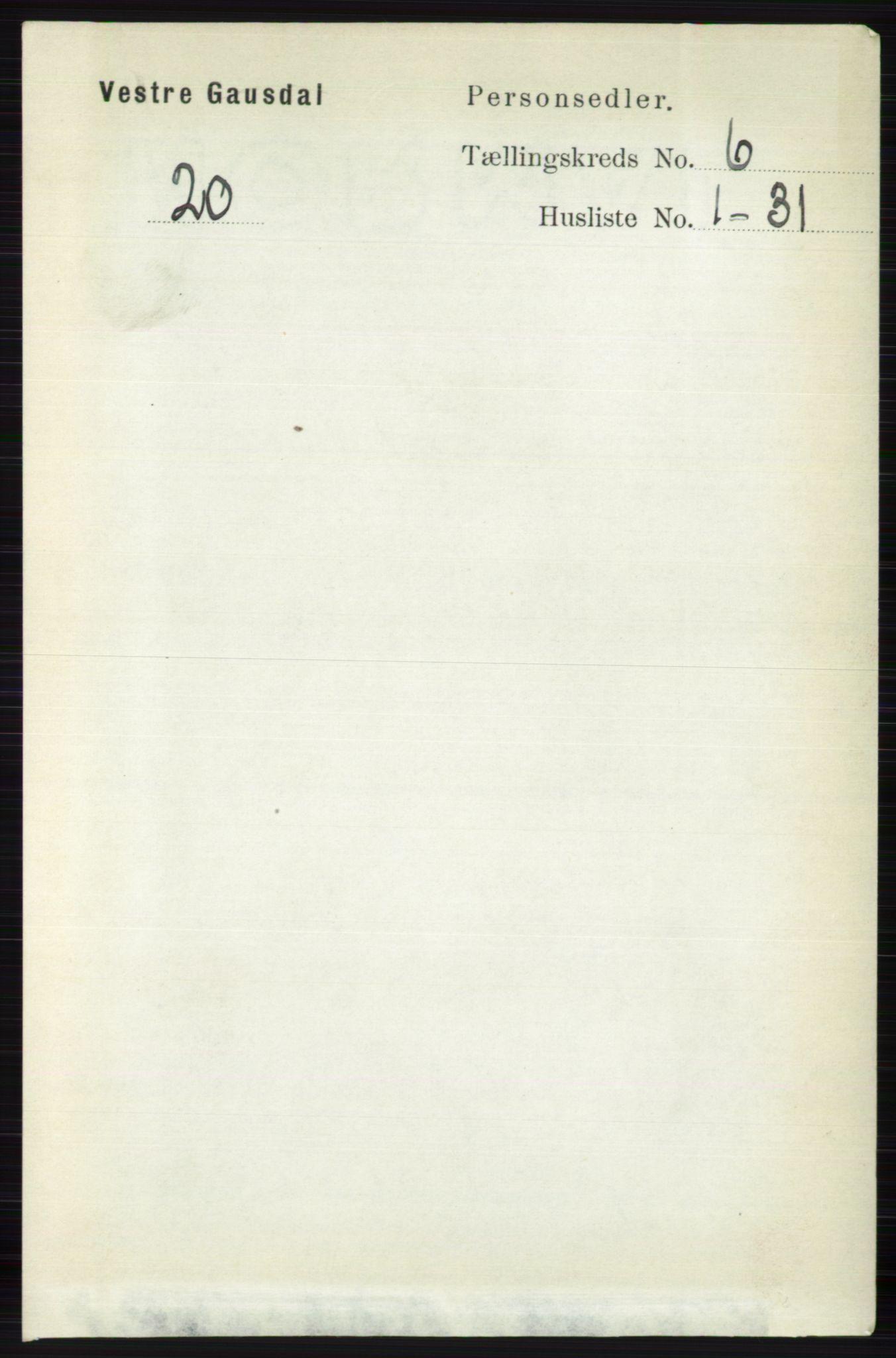 RA, Folketelling 1891 for 0523 Vestre Gausdal herred, 1891, s. 2553