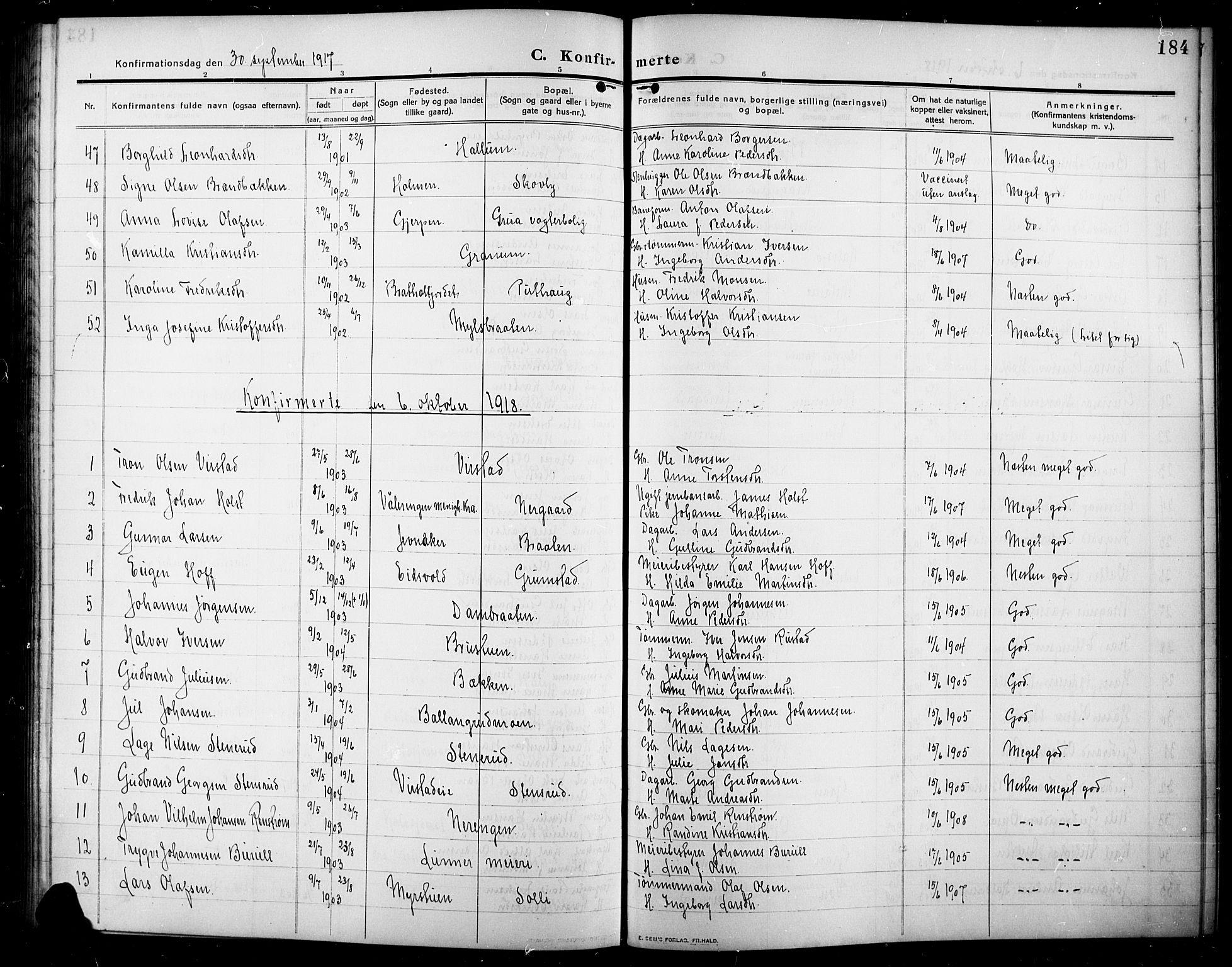 SAH, Lunner prestekontor, H/Ha/Hab/L0001: Klokkerbok nr. 1, 1909-1922, s. 184