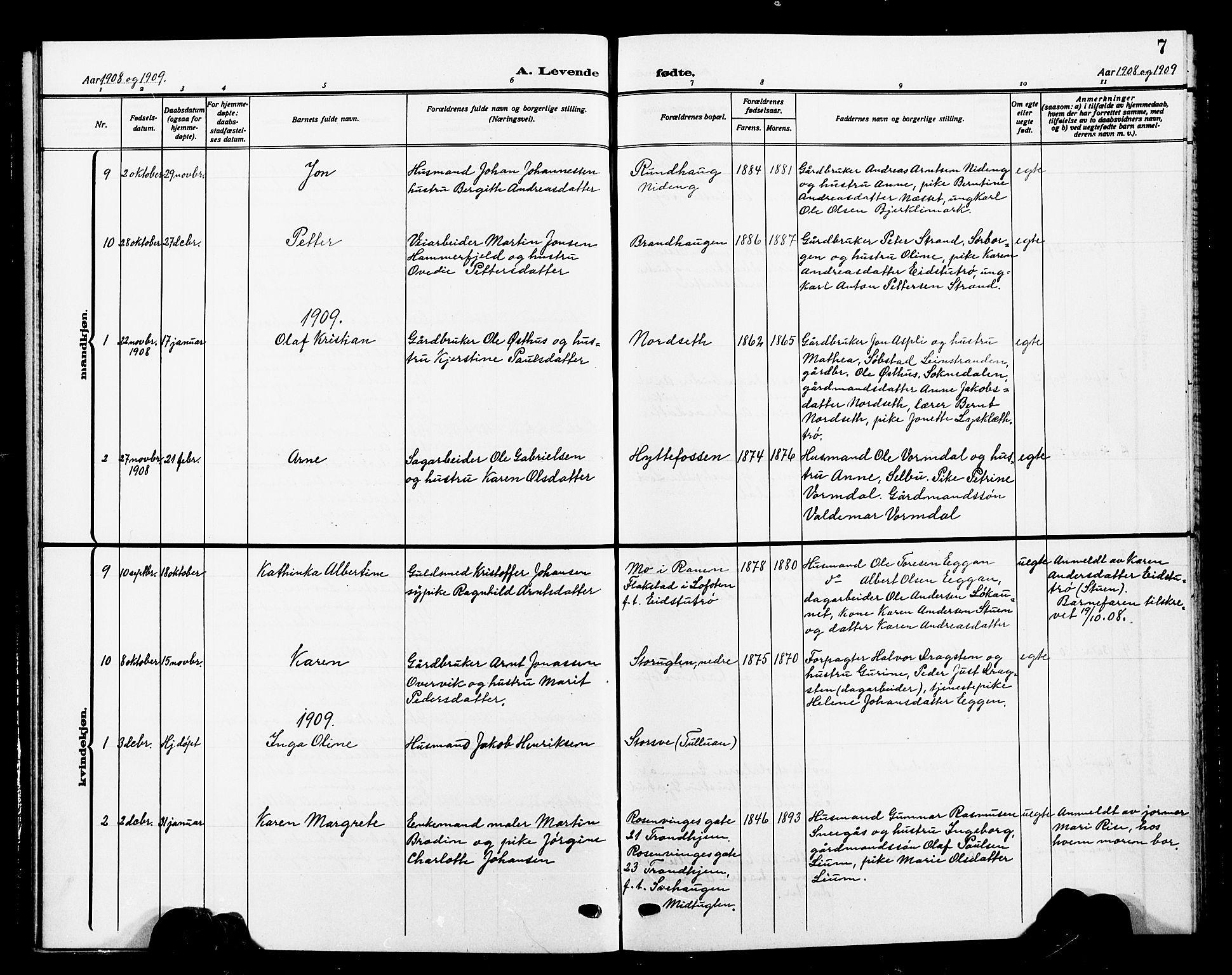 SAT, Ministerialprotokoller, klokkerbøker og fødselsregistre - Sør-Trøndelag, 618/L0453: Klokkerbok nr. 618C04, 1907-1925, s. 7