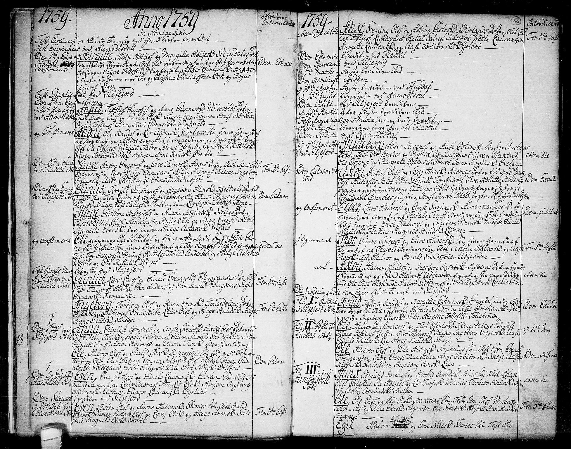 SAKO, Seljord kirkebøker, F/Fa/L0007: Ministerialbok nr. I 7, 1755-1800, s. 12