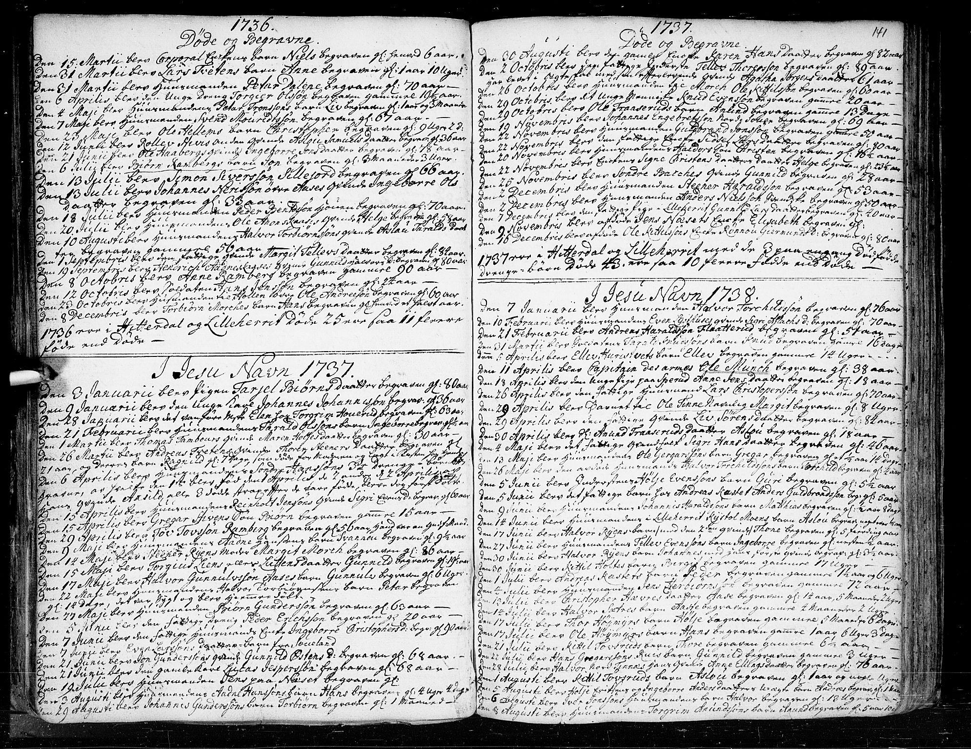 SAKO, Heddal kirkebøker, F/Fa/L0003: Ministerialbok nr. I 3, 1723-1783, s. 141