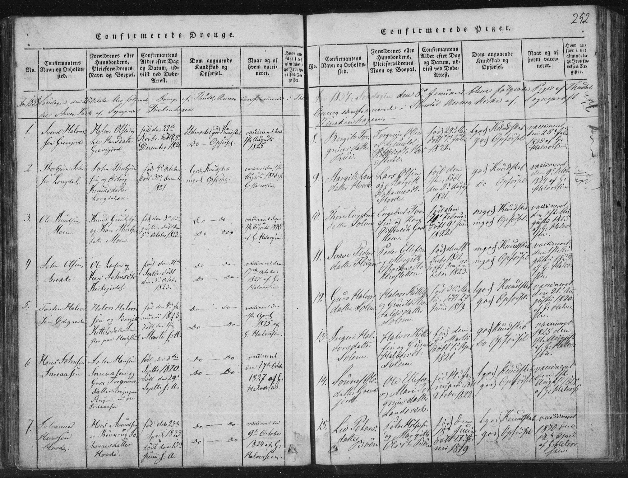 SAKO, Hjartdal kirkebøker, F/Fc/L0001: Ministerialbok nr. III 1, 1815-1843, s. 252