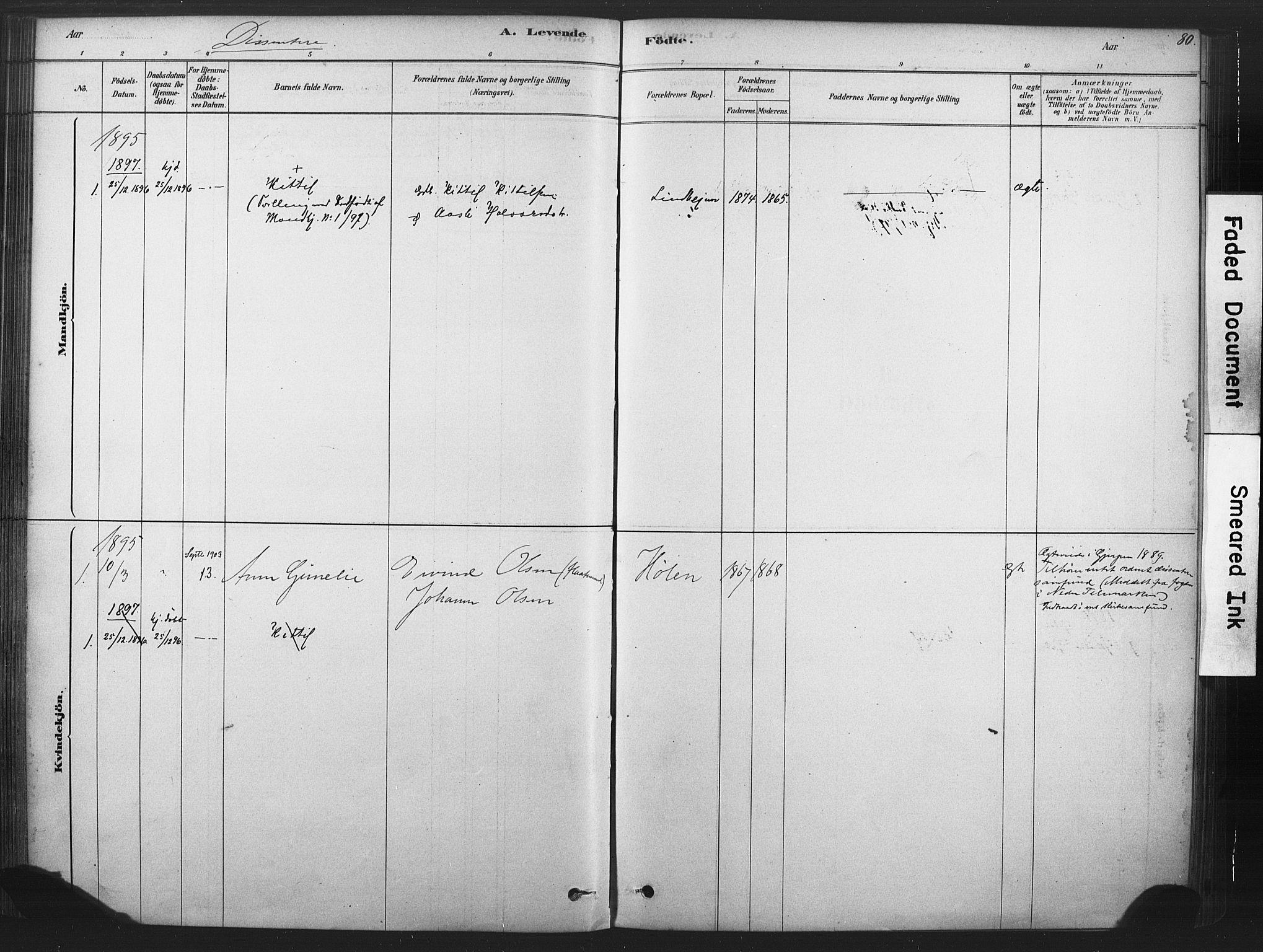 SAKO, Sauherad kirkebøker, F/Fb/L0002: Ministerialbok nr. II 2, 1878-1901, s. 80